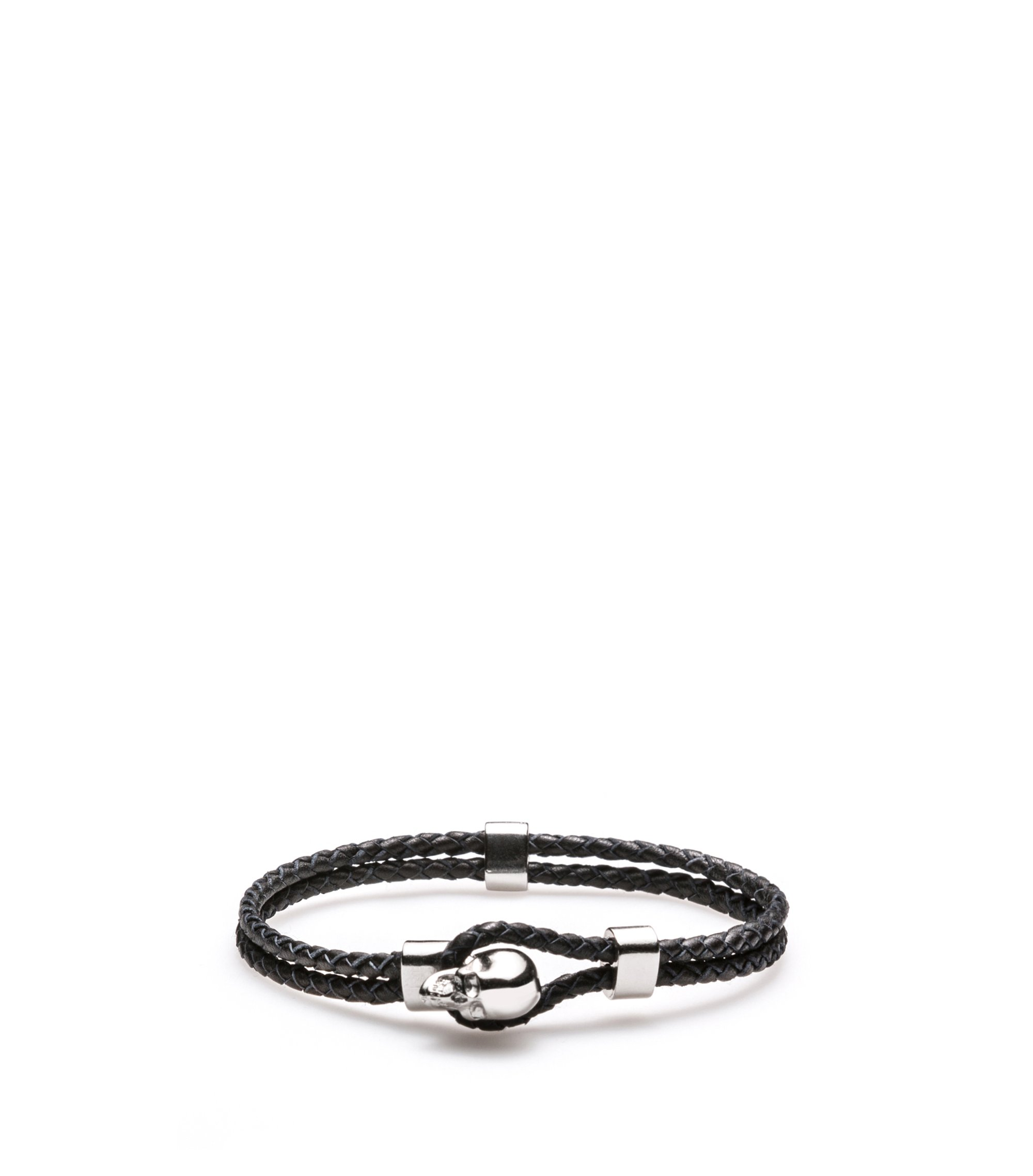 Braided-leather bracelet with skull closure, Black