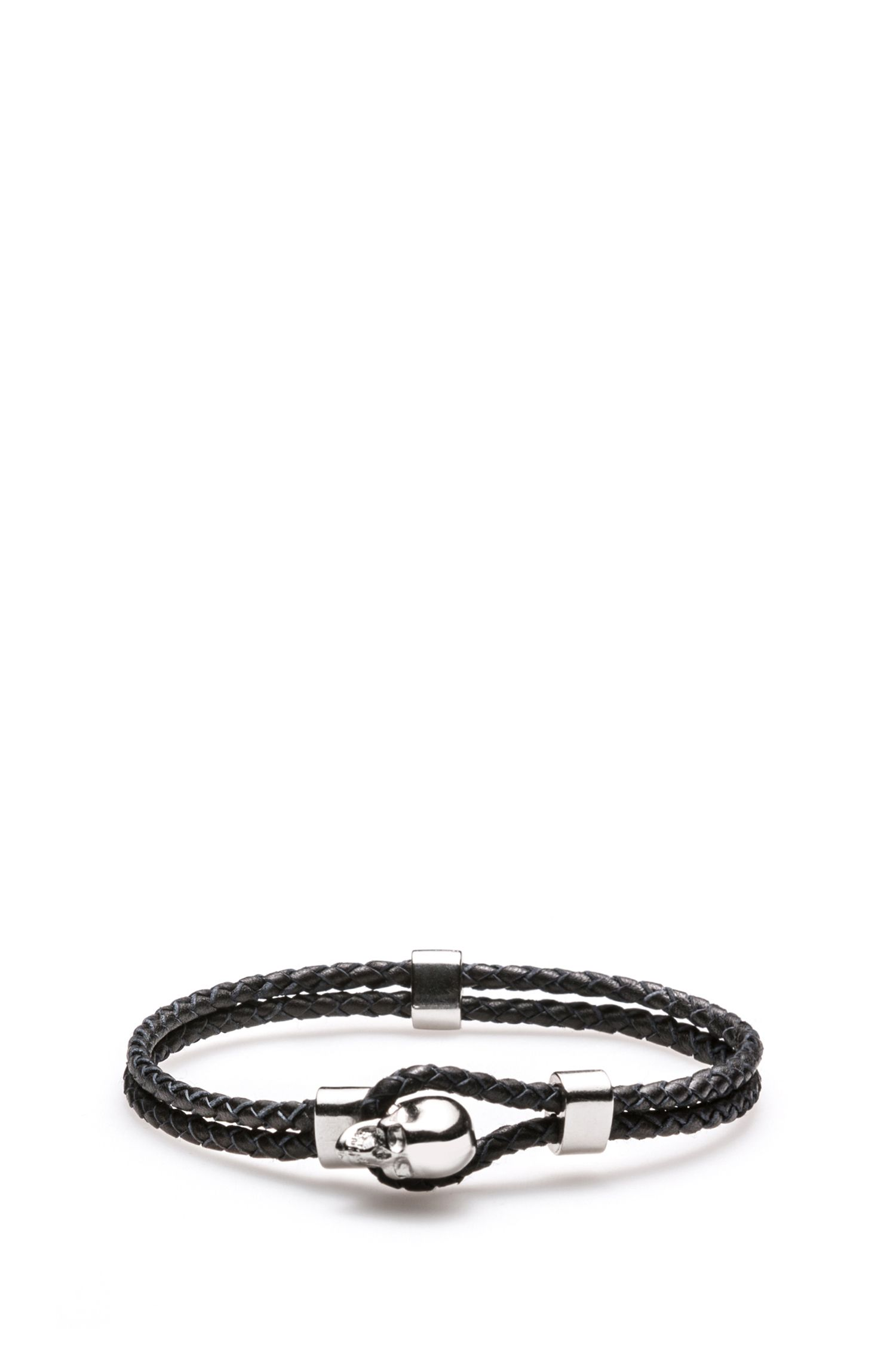 Braided-leather bracelet with skull closure