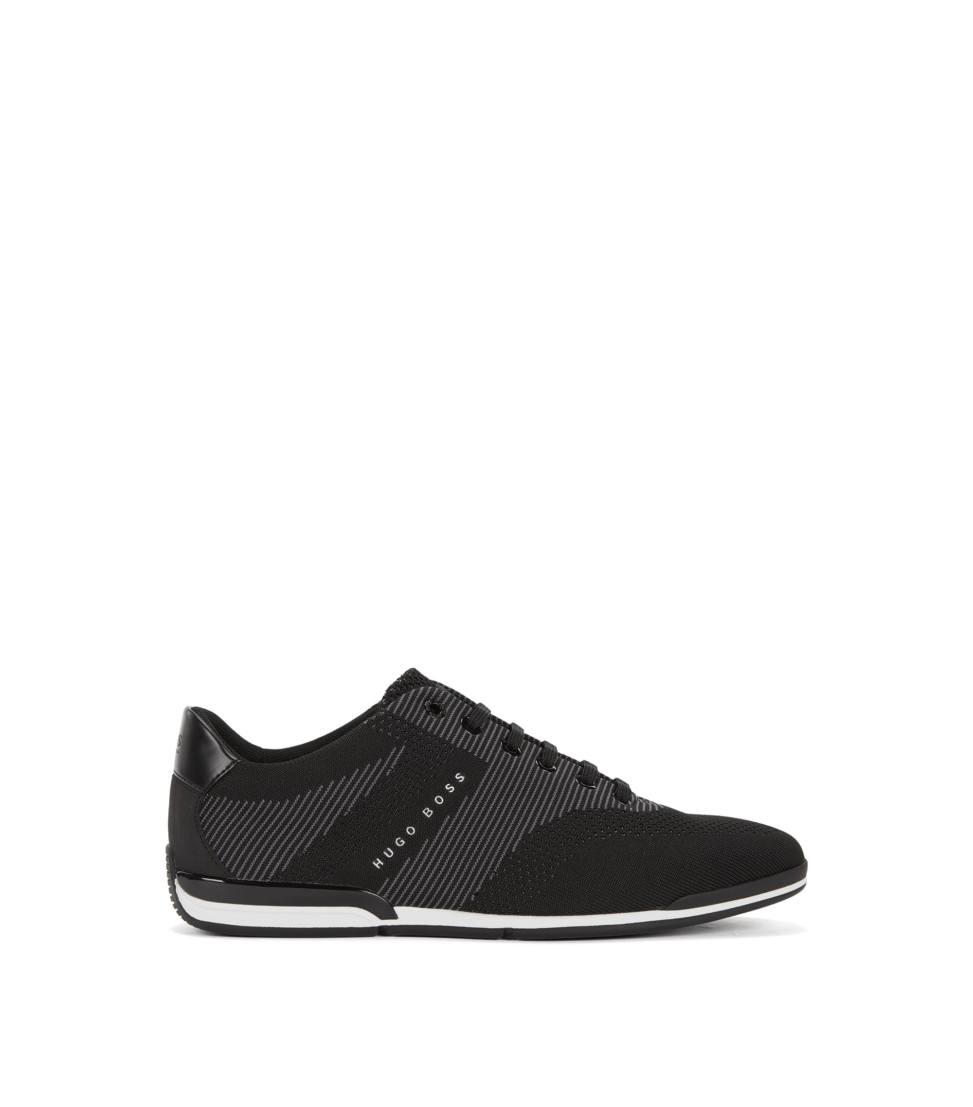 Low-top trainers with seamless knitted uppers, Black