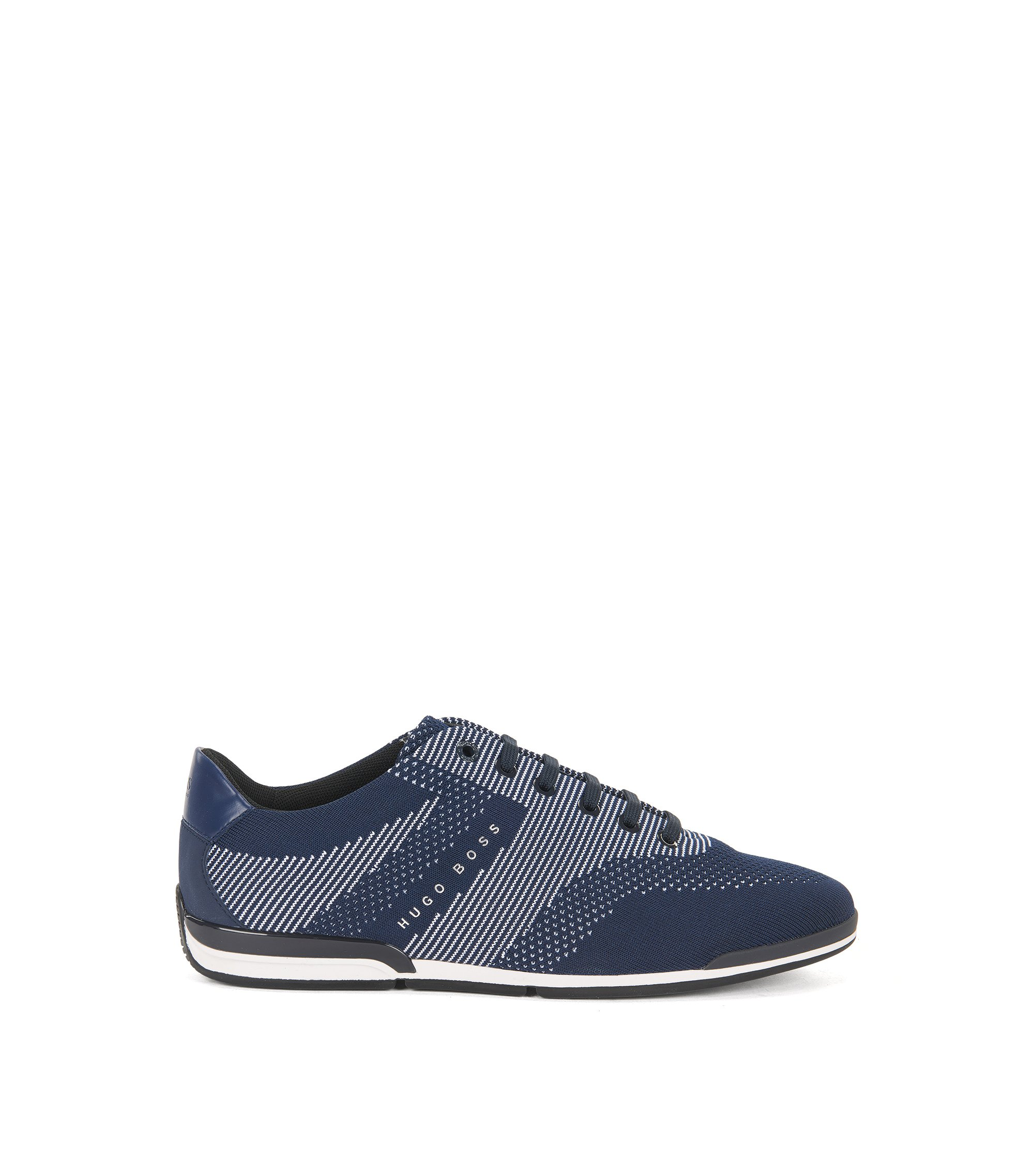 Low-top trainers with seamless knitted uppers, Dark Blue