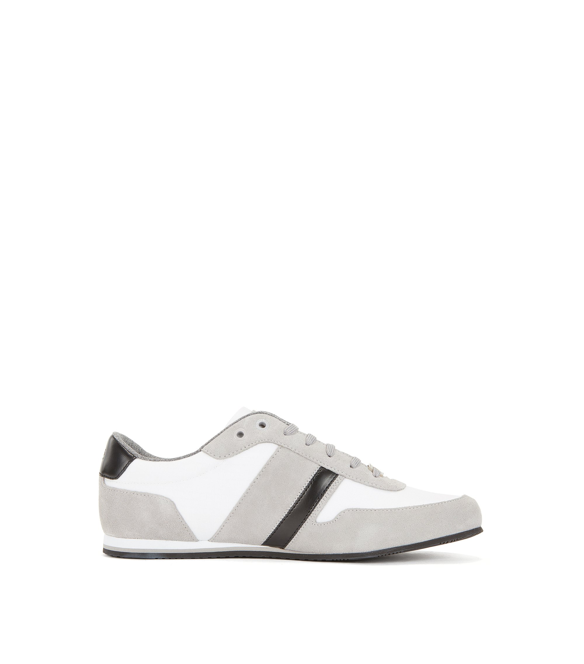 Sneakers low-top con tomaia in pelle scamosciata e tessuto, Naturale