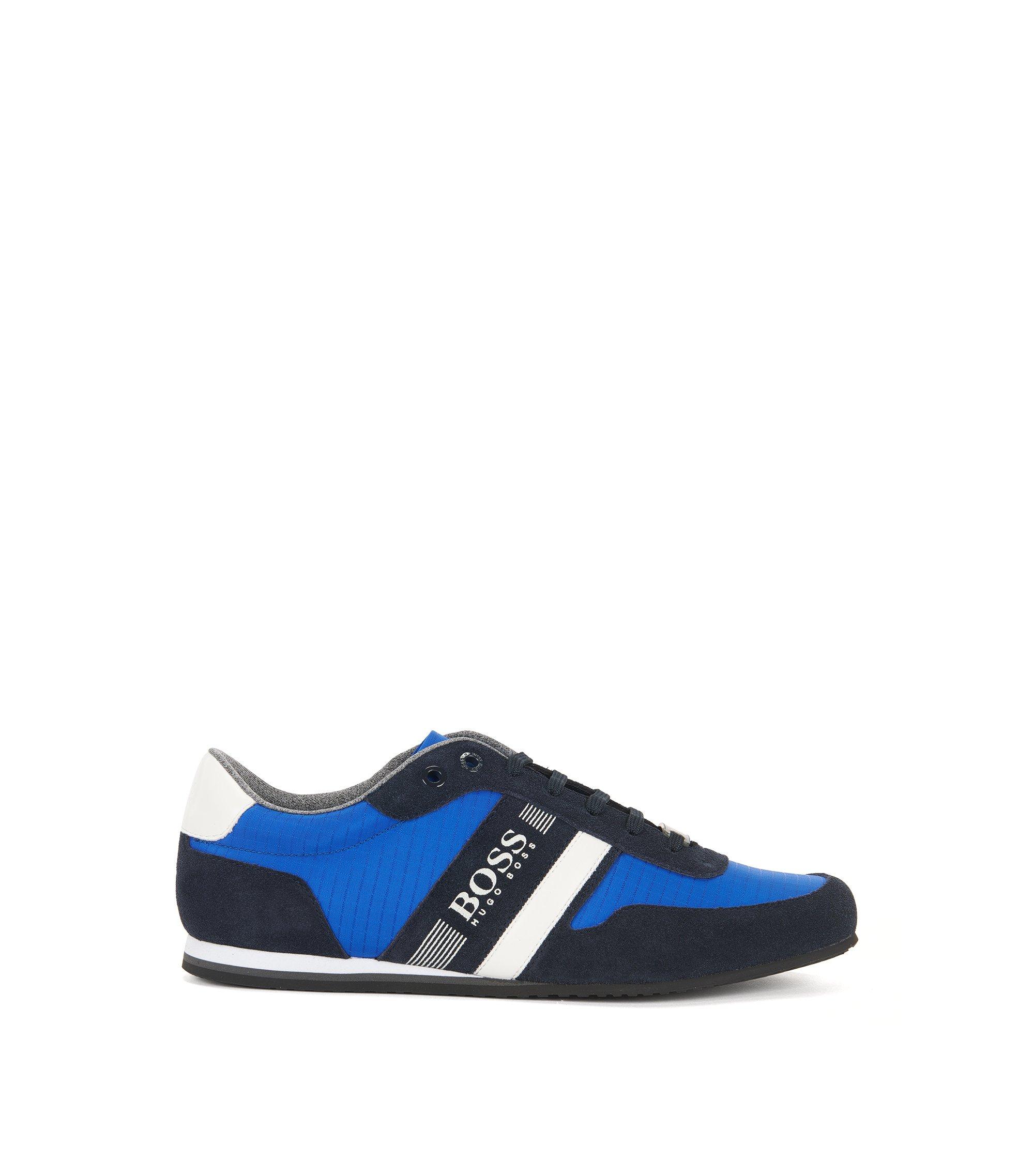 Lage sneakers met bovenzijde van suède en stof, Blauw