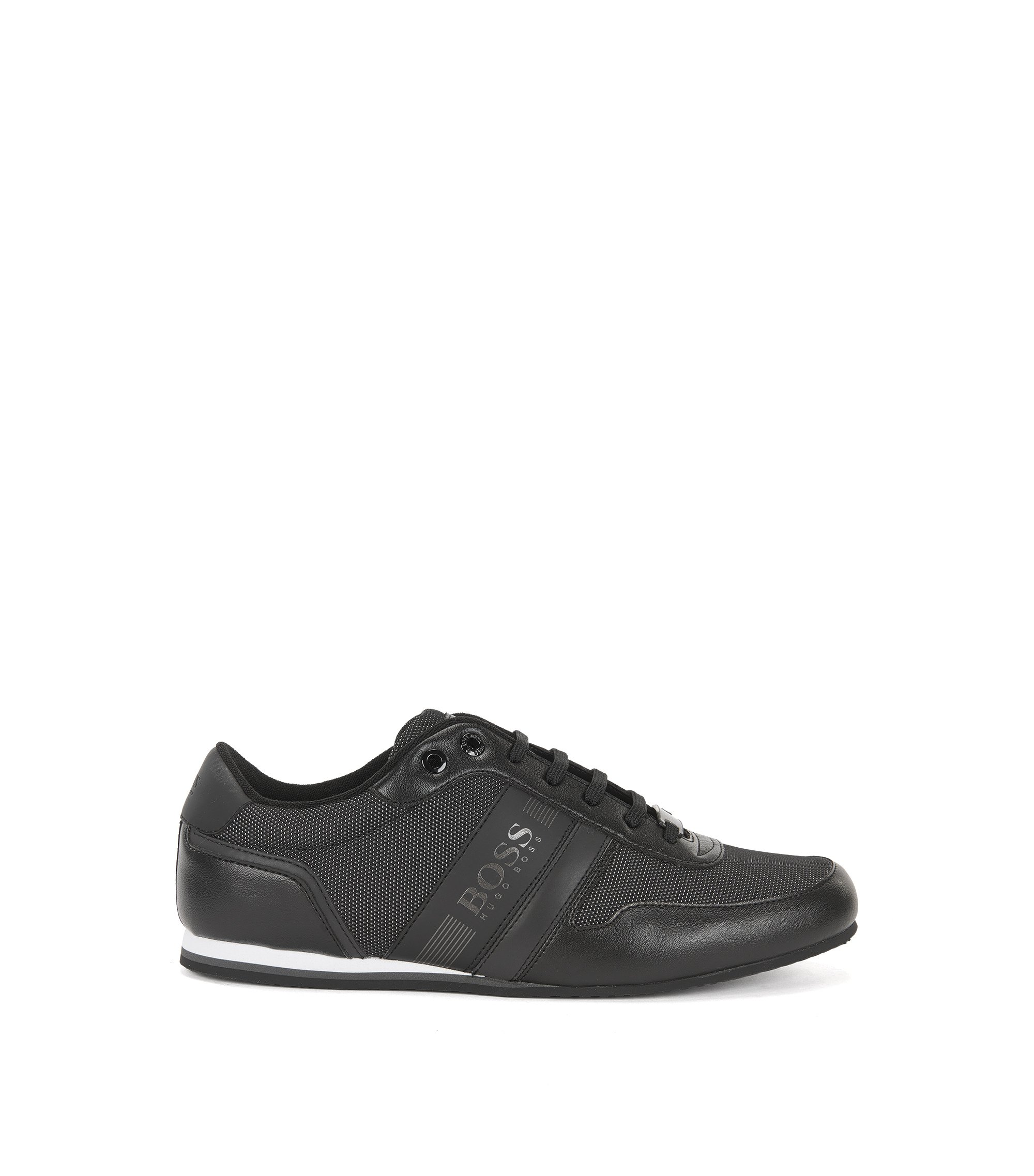 Sneakers low-top con tomaia riflettente, Nero