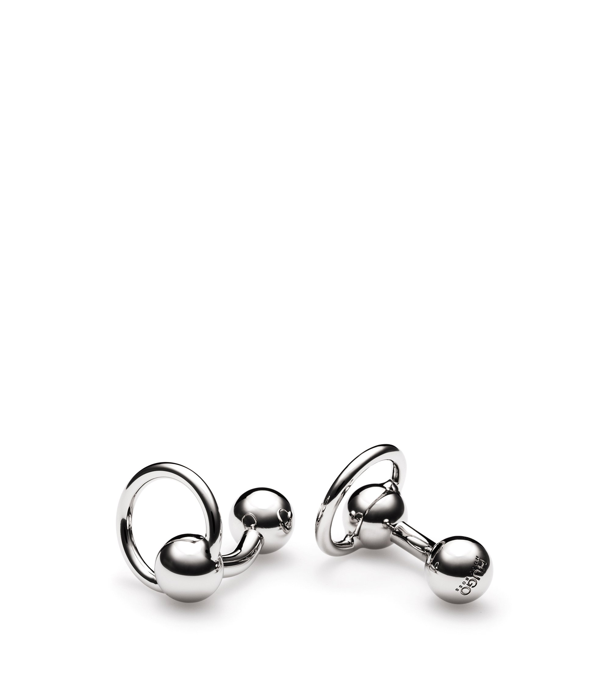 Piercing-design cufflinks in polished brass, Silver