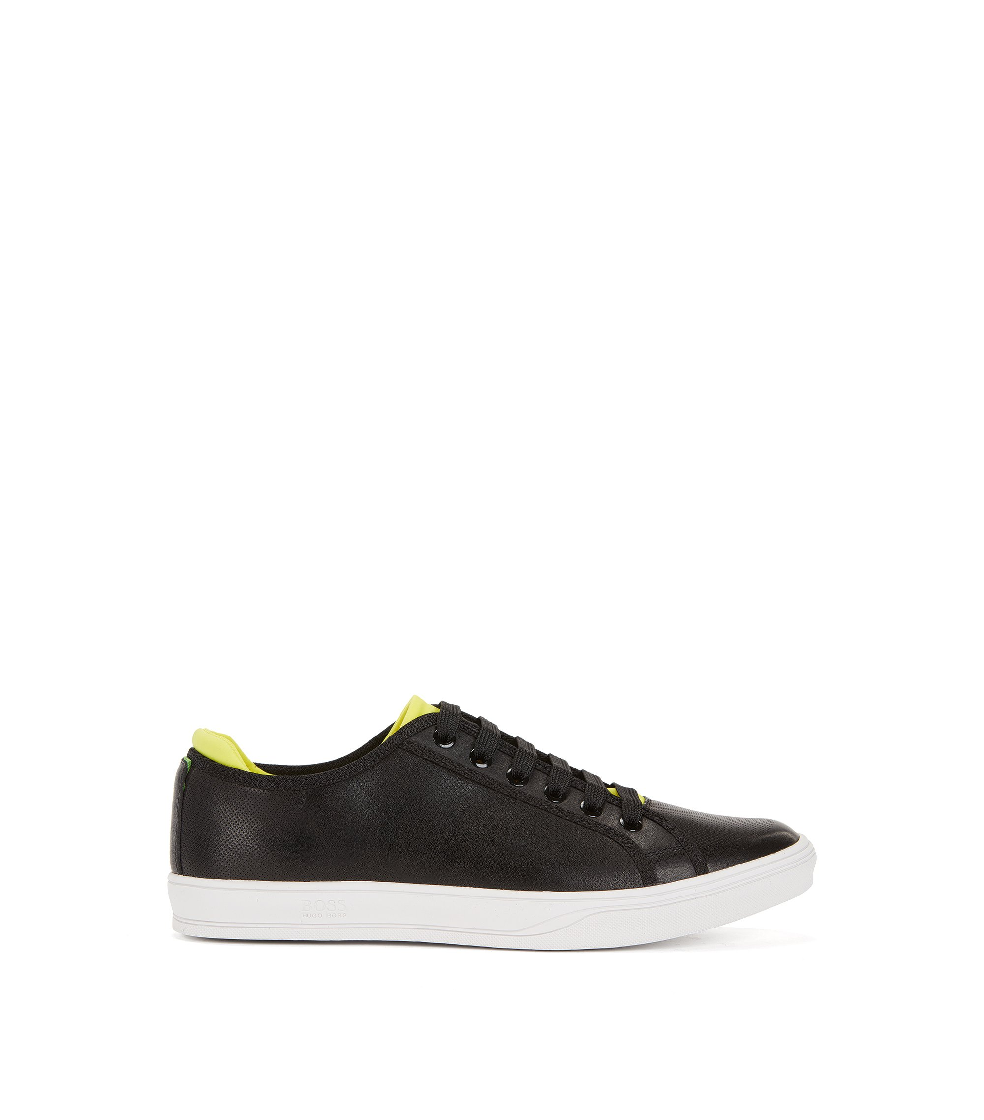 Tennis-style leather trainers with perforated detail, Black