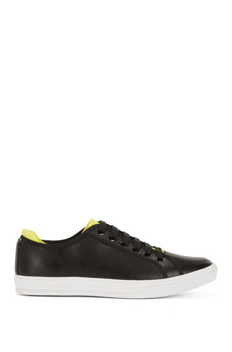 Tennis-style leather trainers with perforated detail BOSS bHcRgbMxY