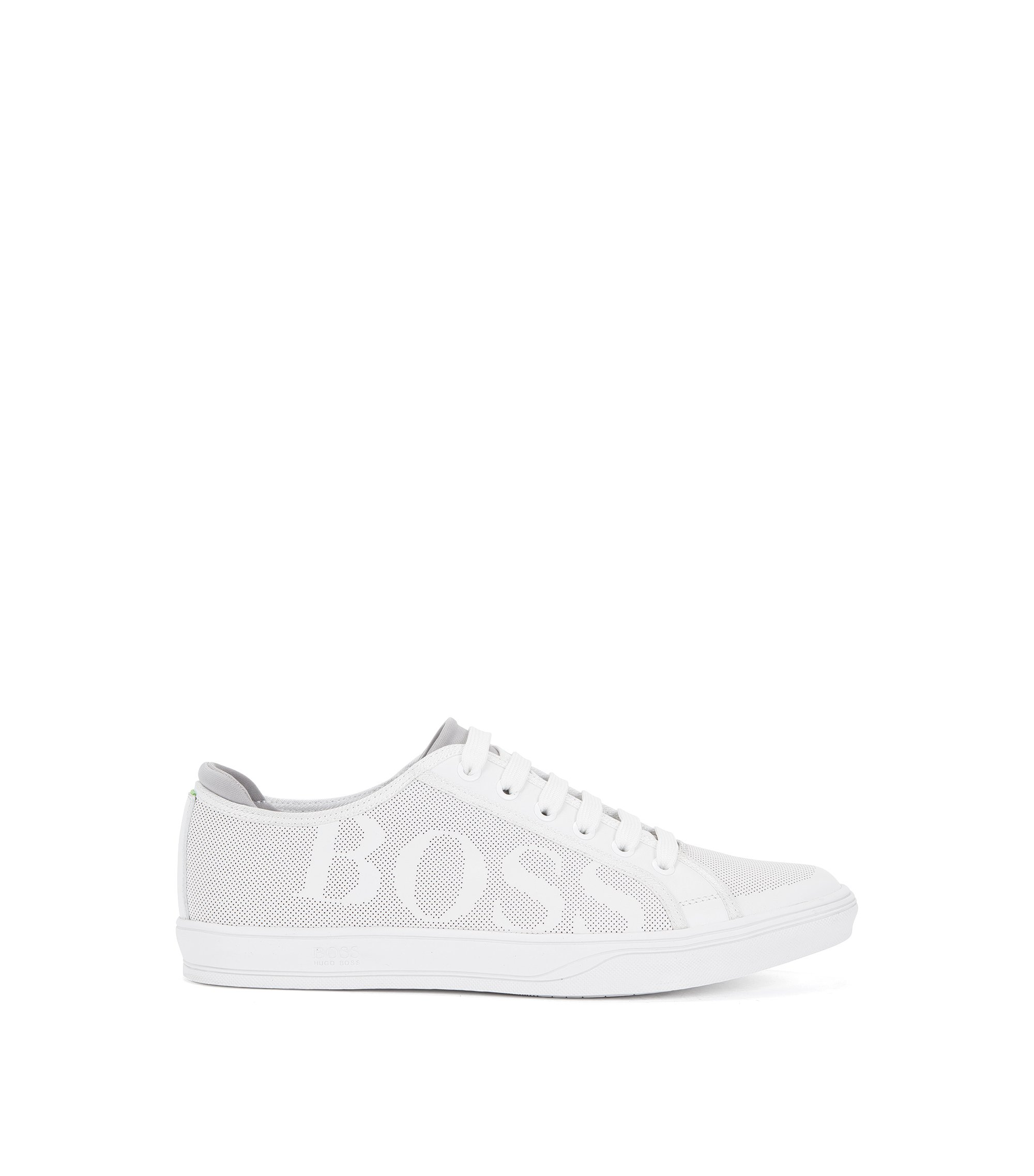 Tennis-style leather trainers with perforated detail, White