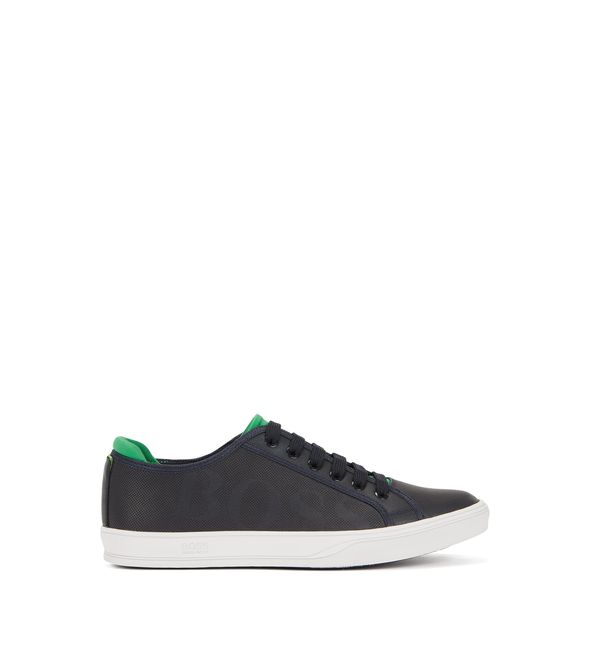 Tennis-style leather trainers with perforated detail, Dark Blue