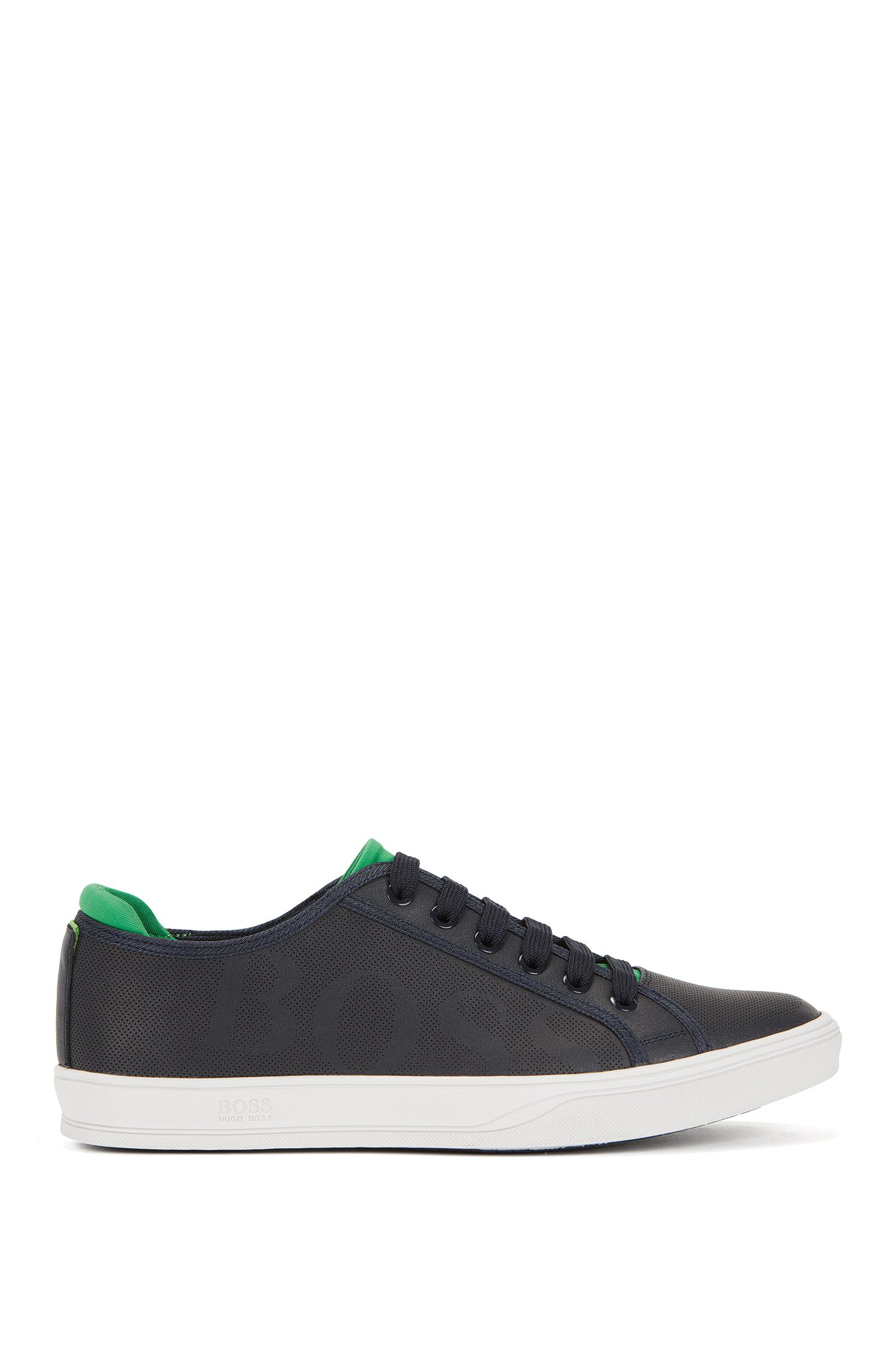 Tennis-style leather trainers with perforated detail
