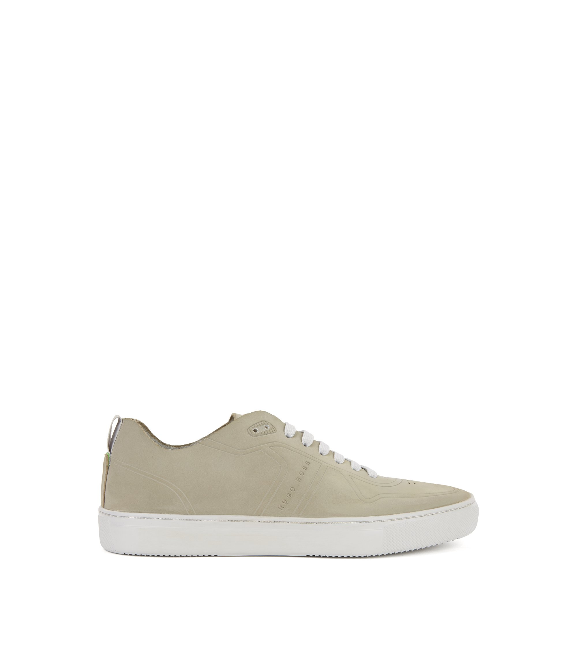 Sneakers aus Nubukleder im Tennis-Stil, Grau