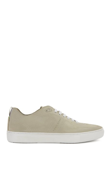Tennis-style low-top trainers in nubuck BOSS Q8QsLSlQ