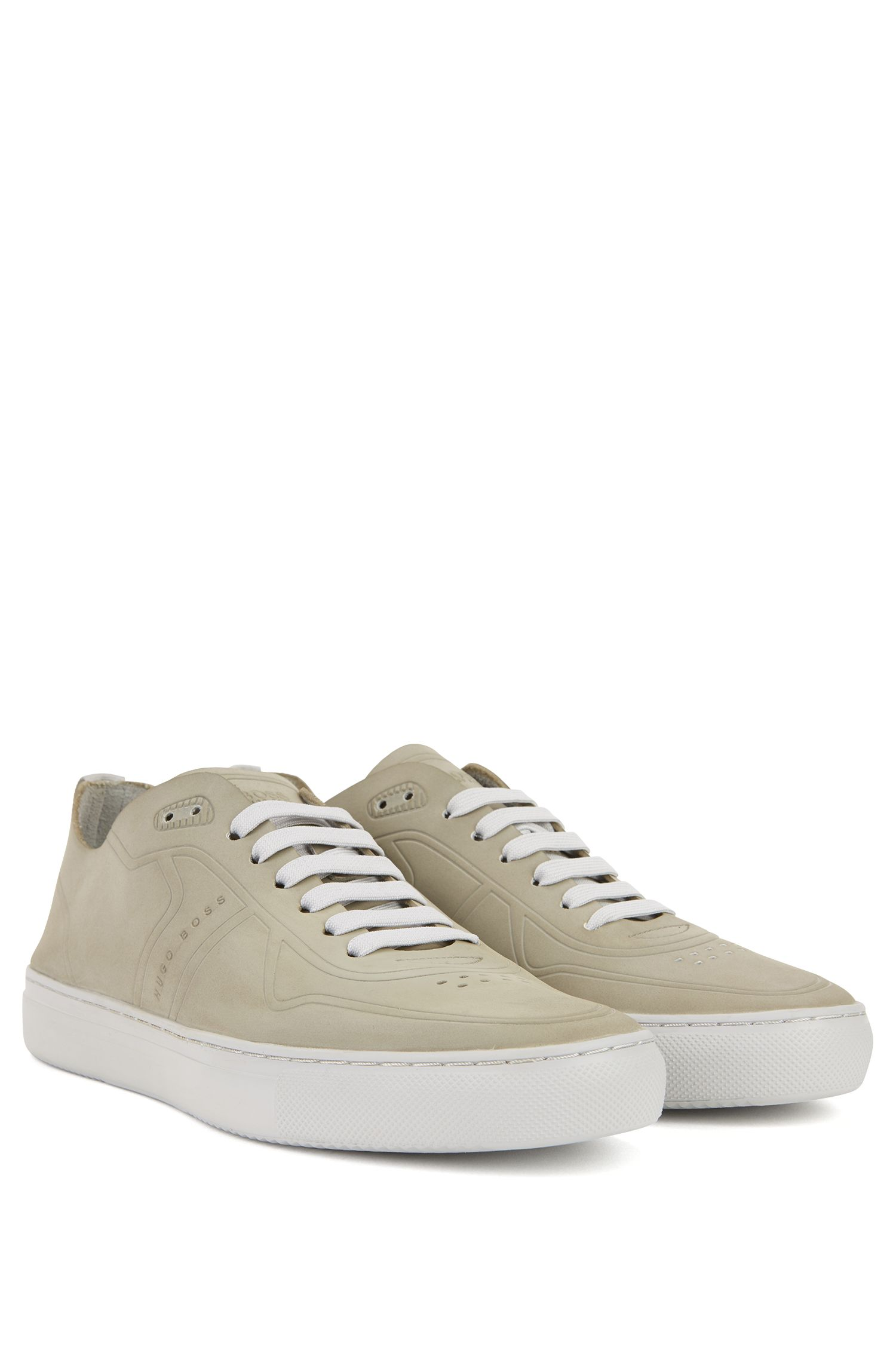 Tennis-style low-top trainers in nubuck BOSS