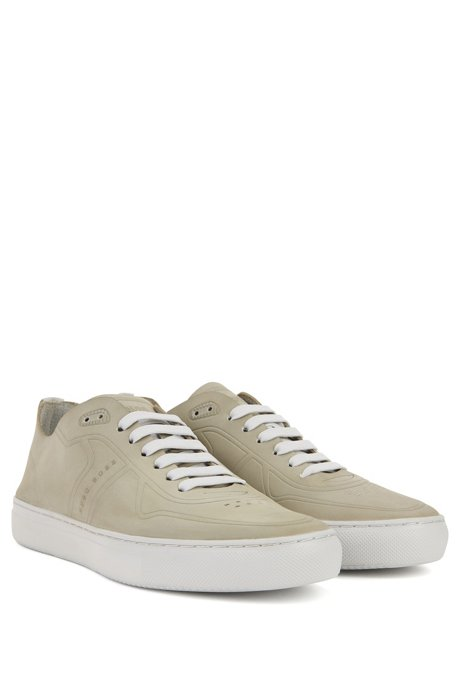 Tennis-style low-top trainers in nubuck BOSS P0OnA