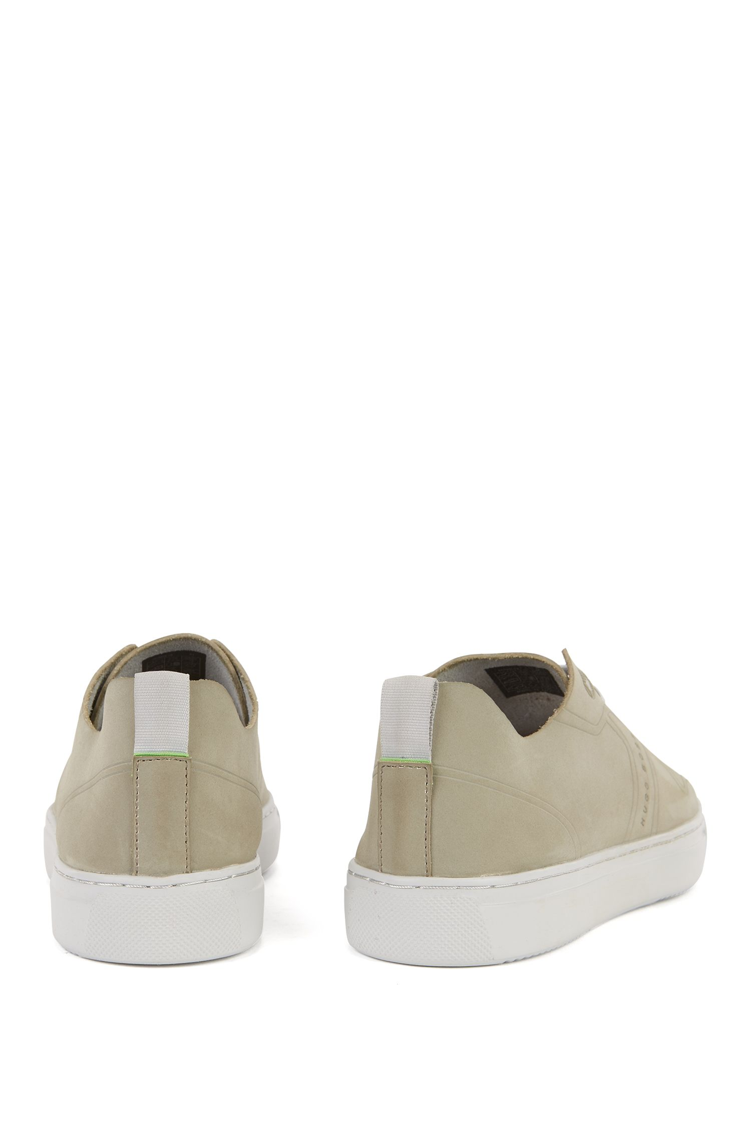 Tennis-style low-top trainers in nubuck