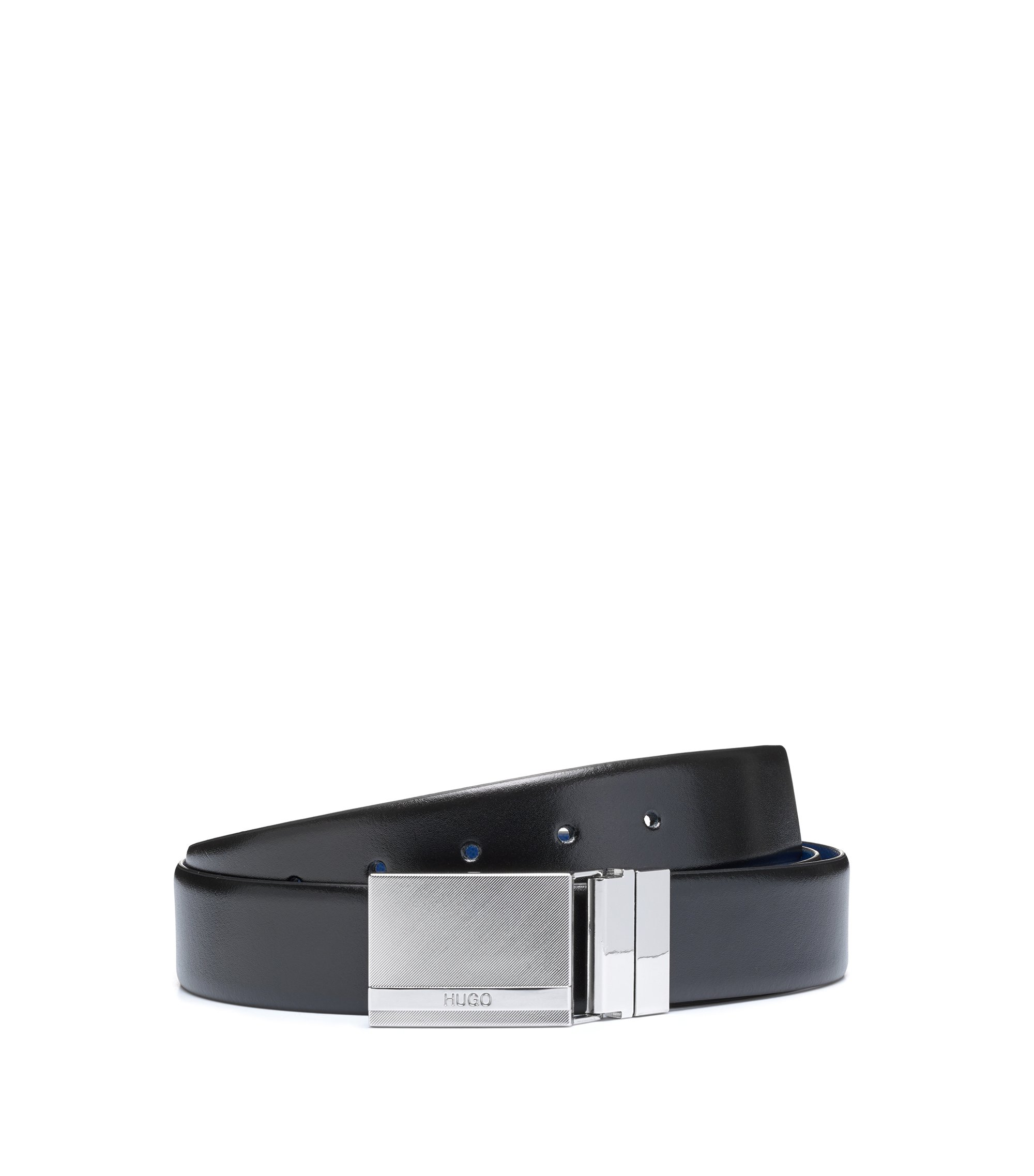 Gift-boxed double-buckle belt in mixed leathers, Black