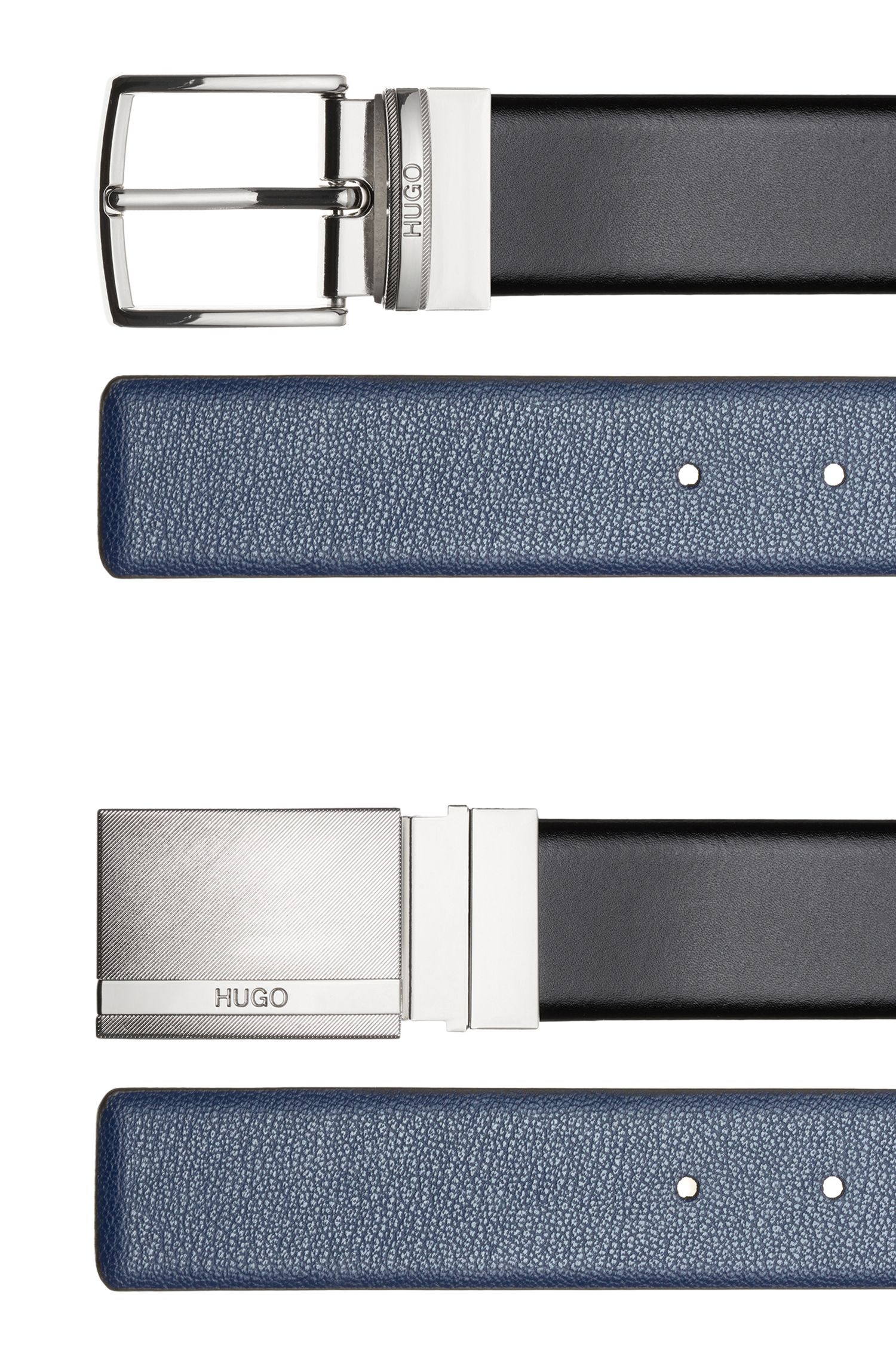 Gift-boxed double-buckle belt in mixed leathers