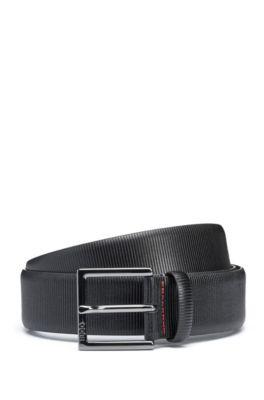 Cinturón formal de piel grabada, Negro