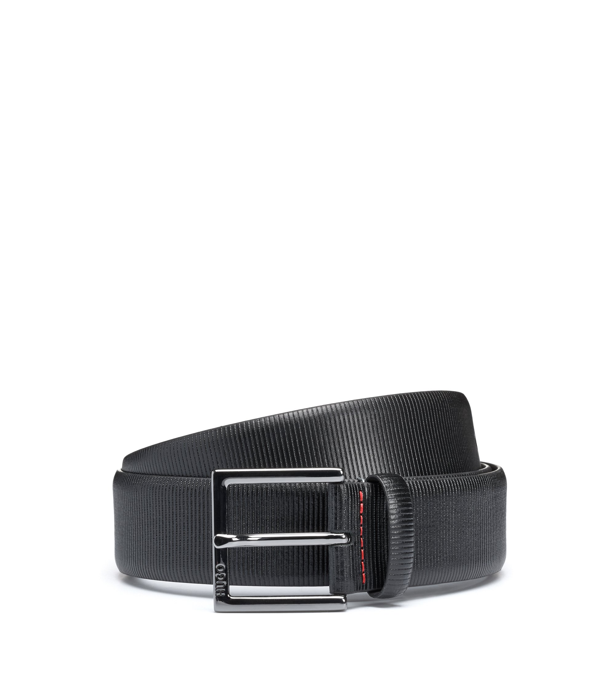 Formal belt in embossed leather, Black