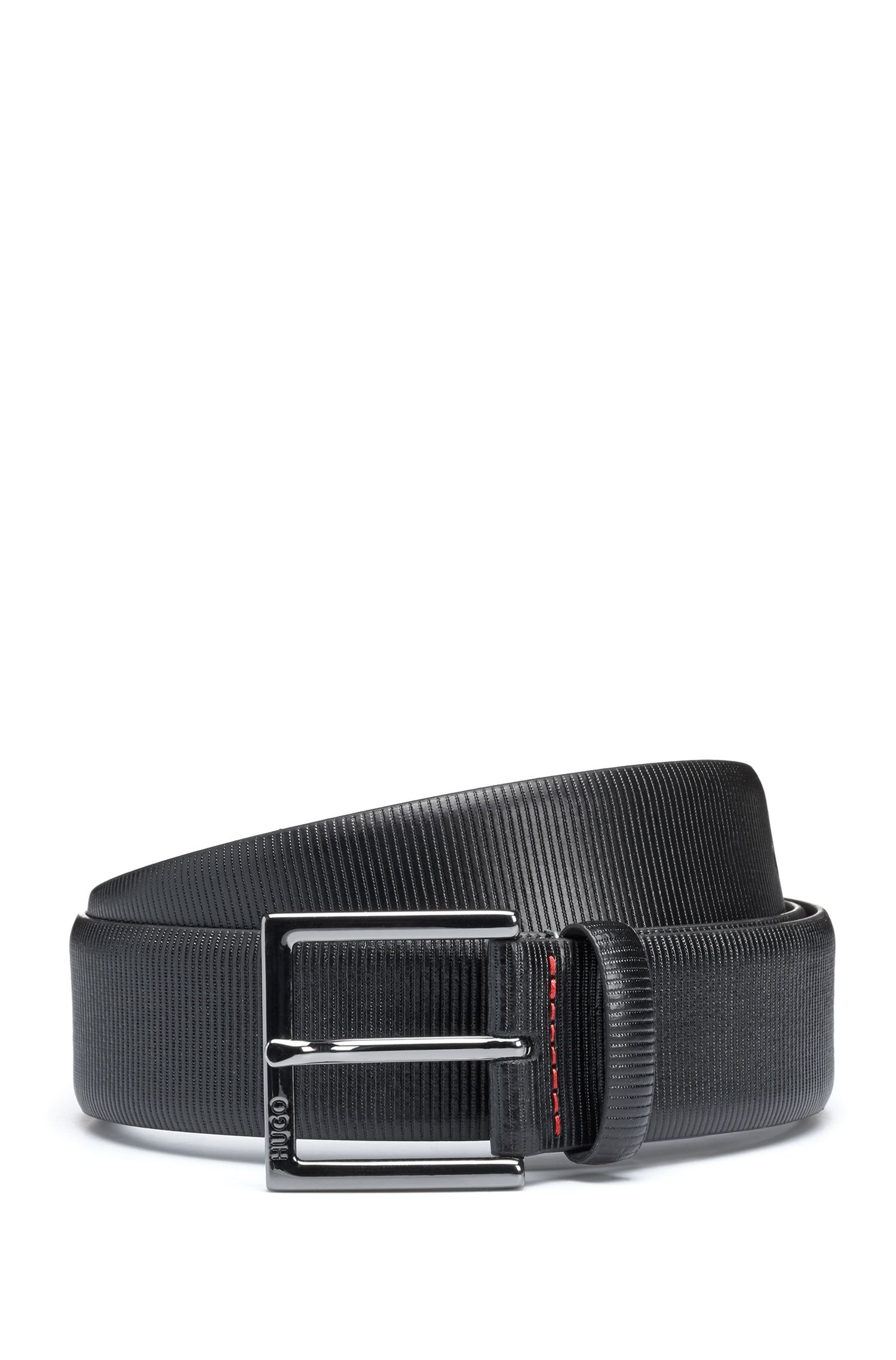 Formal belt in embossed leather