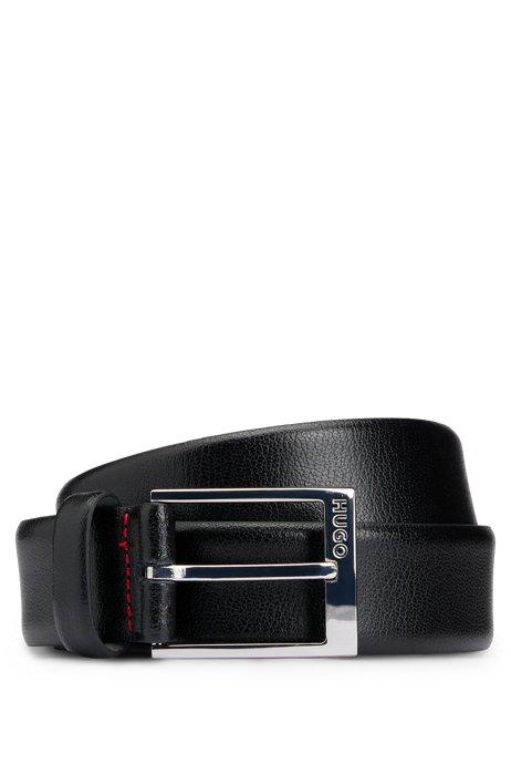 Cinturón de piel granulada con el logo grabado en la hebilla, Negro