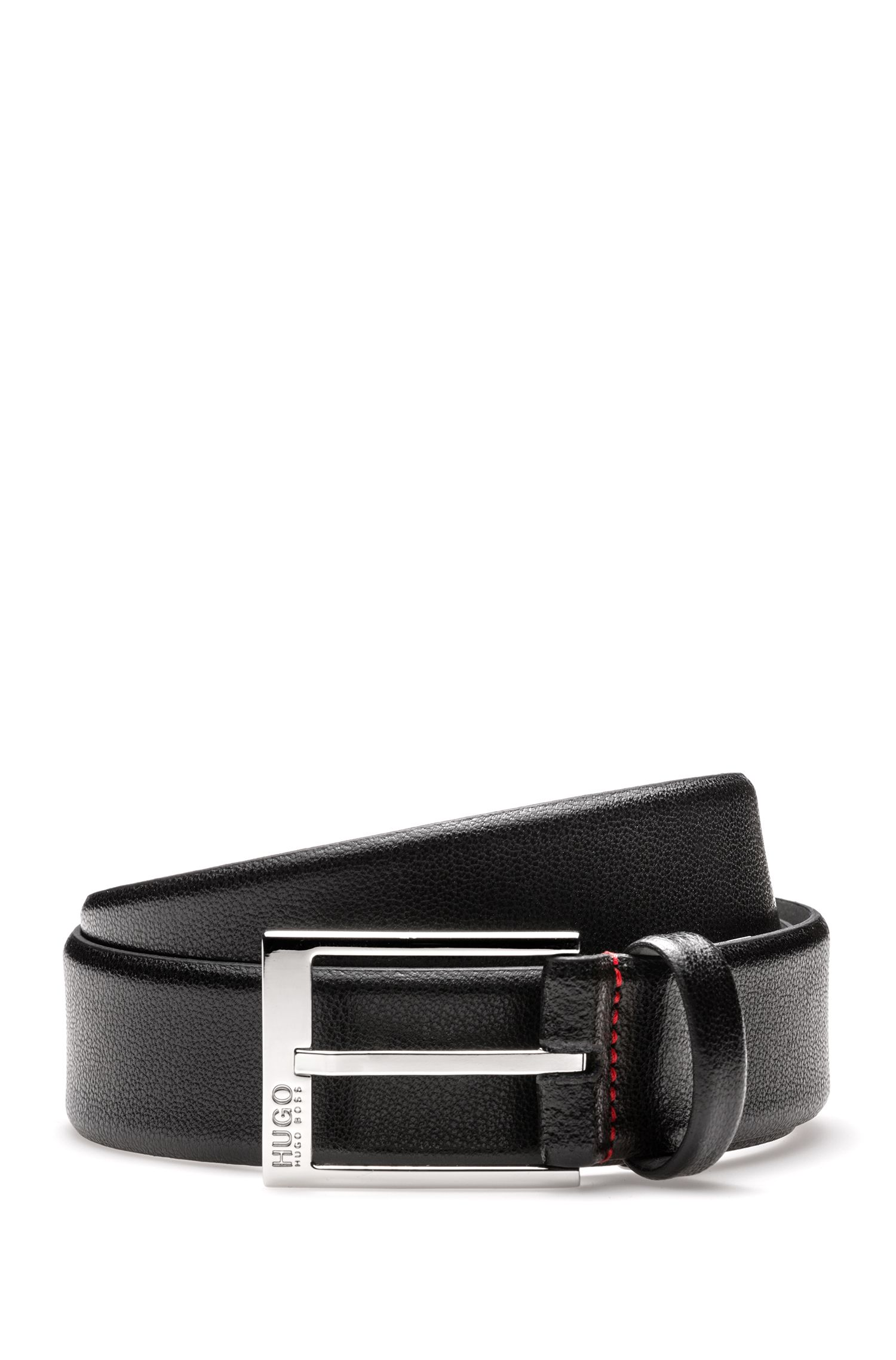 Embossed leather belt with polished silver-effect hardware