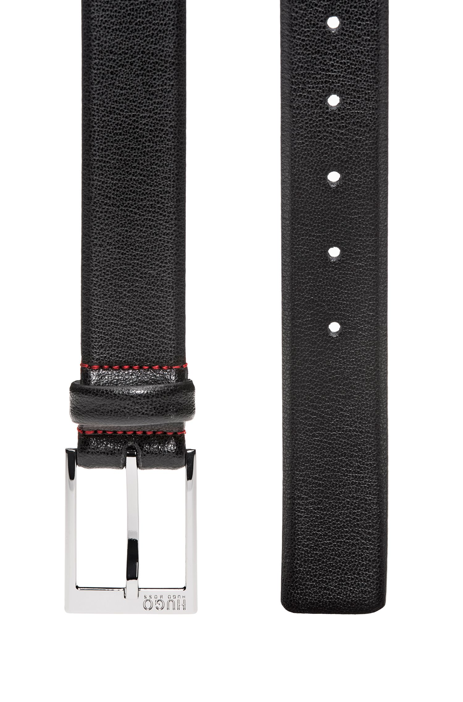 Embossed leather belt with polished silver-effect hardware, Black