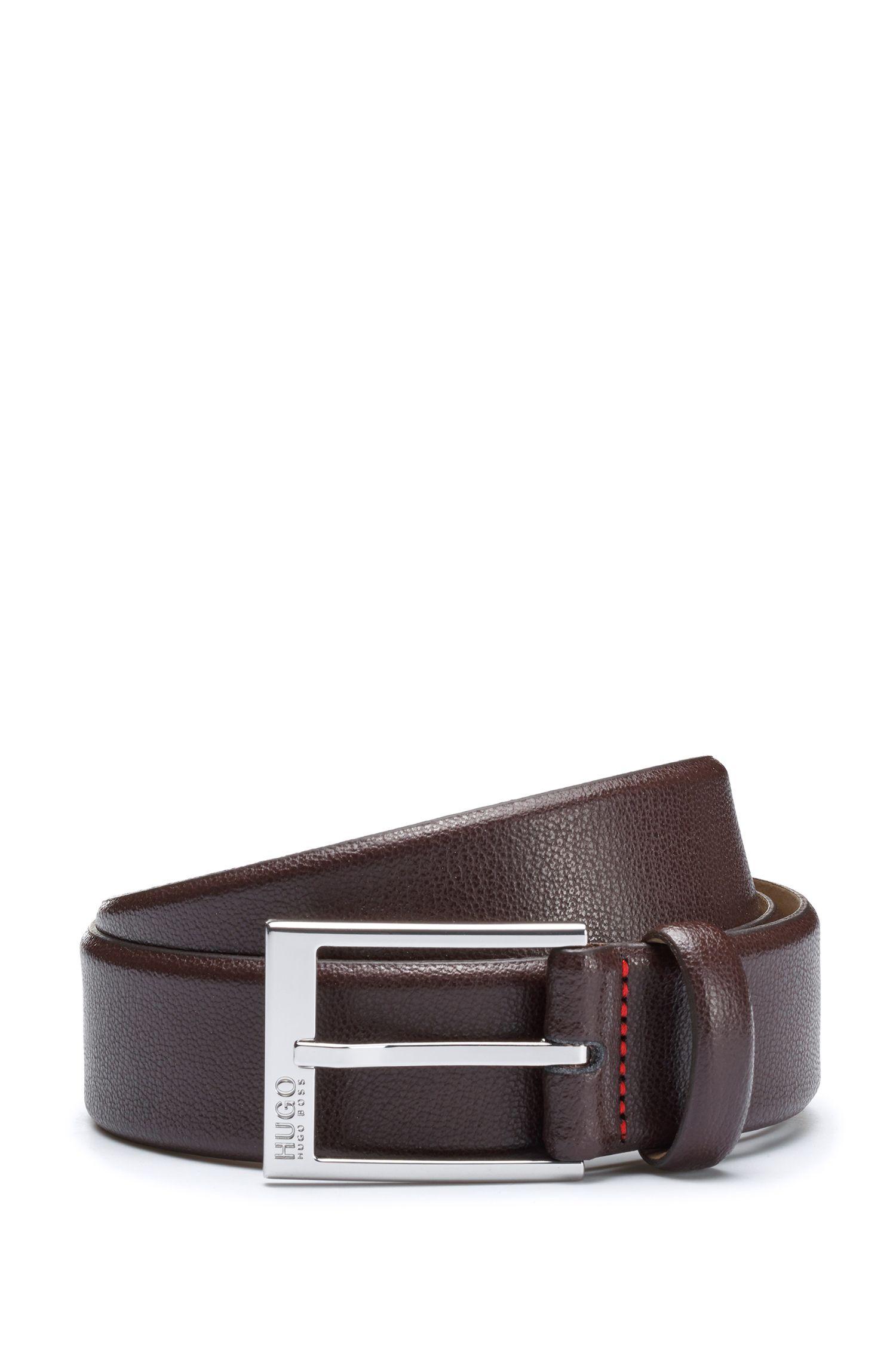Geprägter Ledergürtel mit glänzend polierten Metall-Details, Dunkelbraun