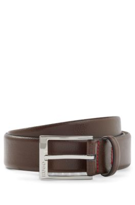 Grained-leather belt with logo-engraved buckle, Dark Brown