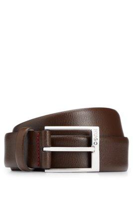 Cinturón de piel granulada con el logo grabado en la hebilla, Marrón oscuro