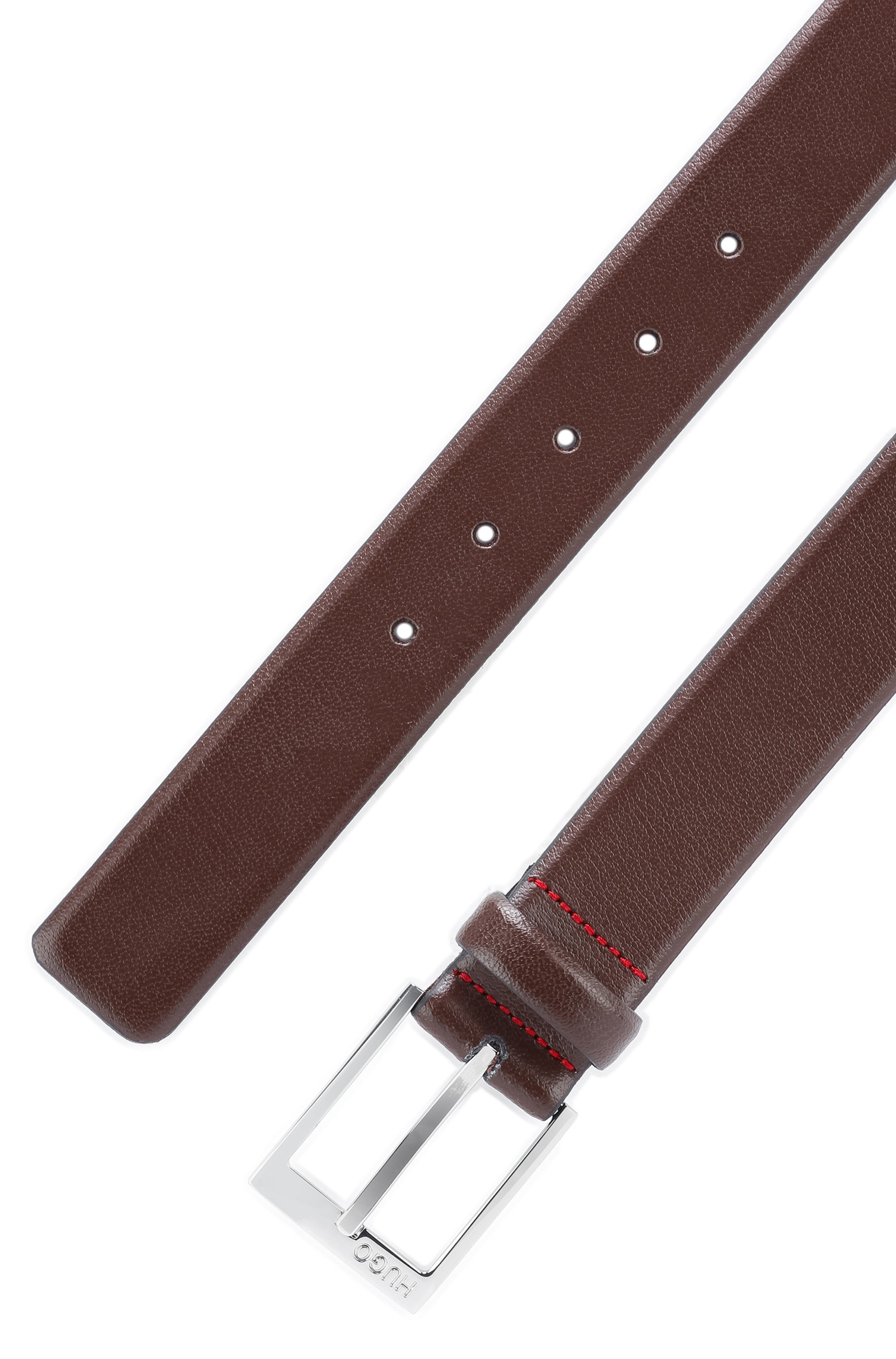 Gürtel aus genarbtem Leder mit Logo-Gravur an der Schließe