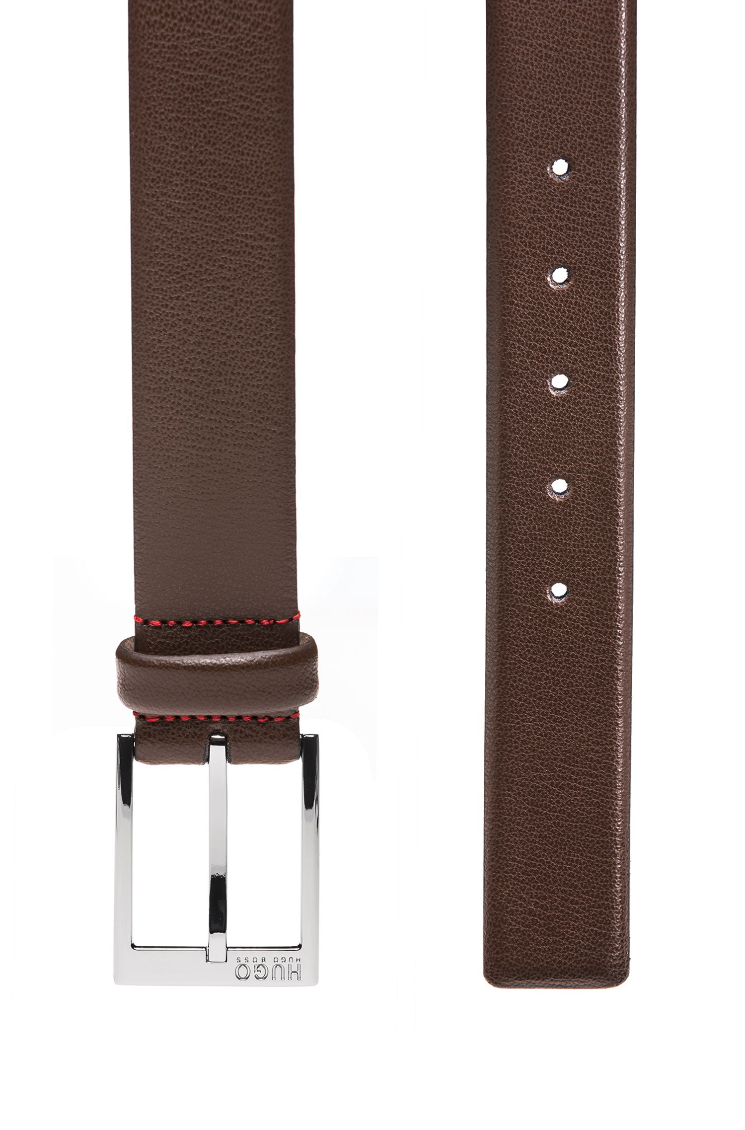 Embossed leather belt with polished silver-effect hardware, Dark Brown