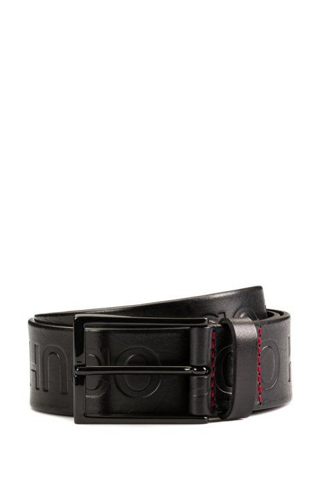 Reverse-logo embossed leather belt, Black