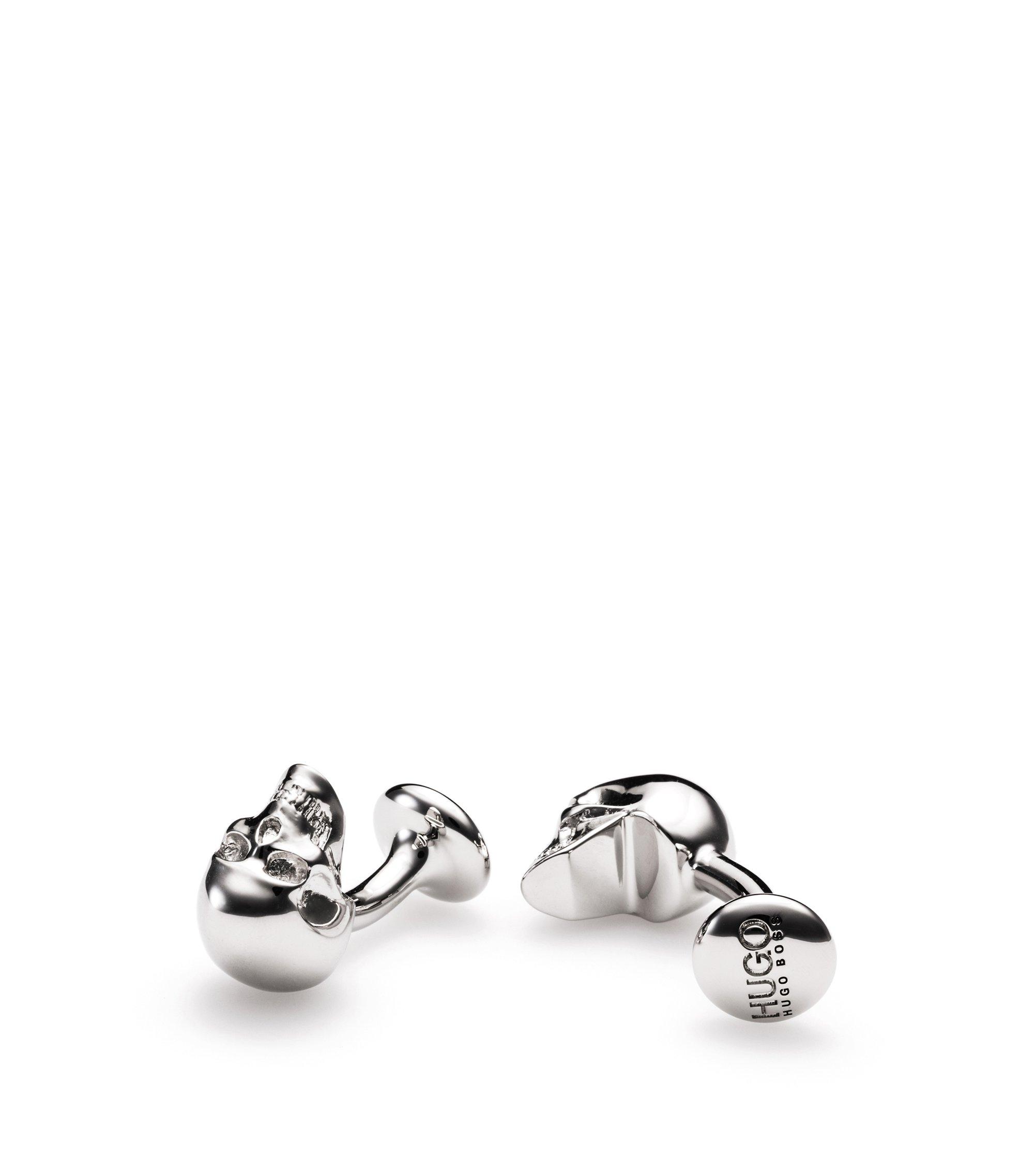 Manchetknopen van gepolijst messing met doodskop, Zilver