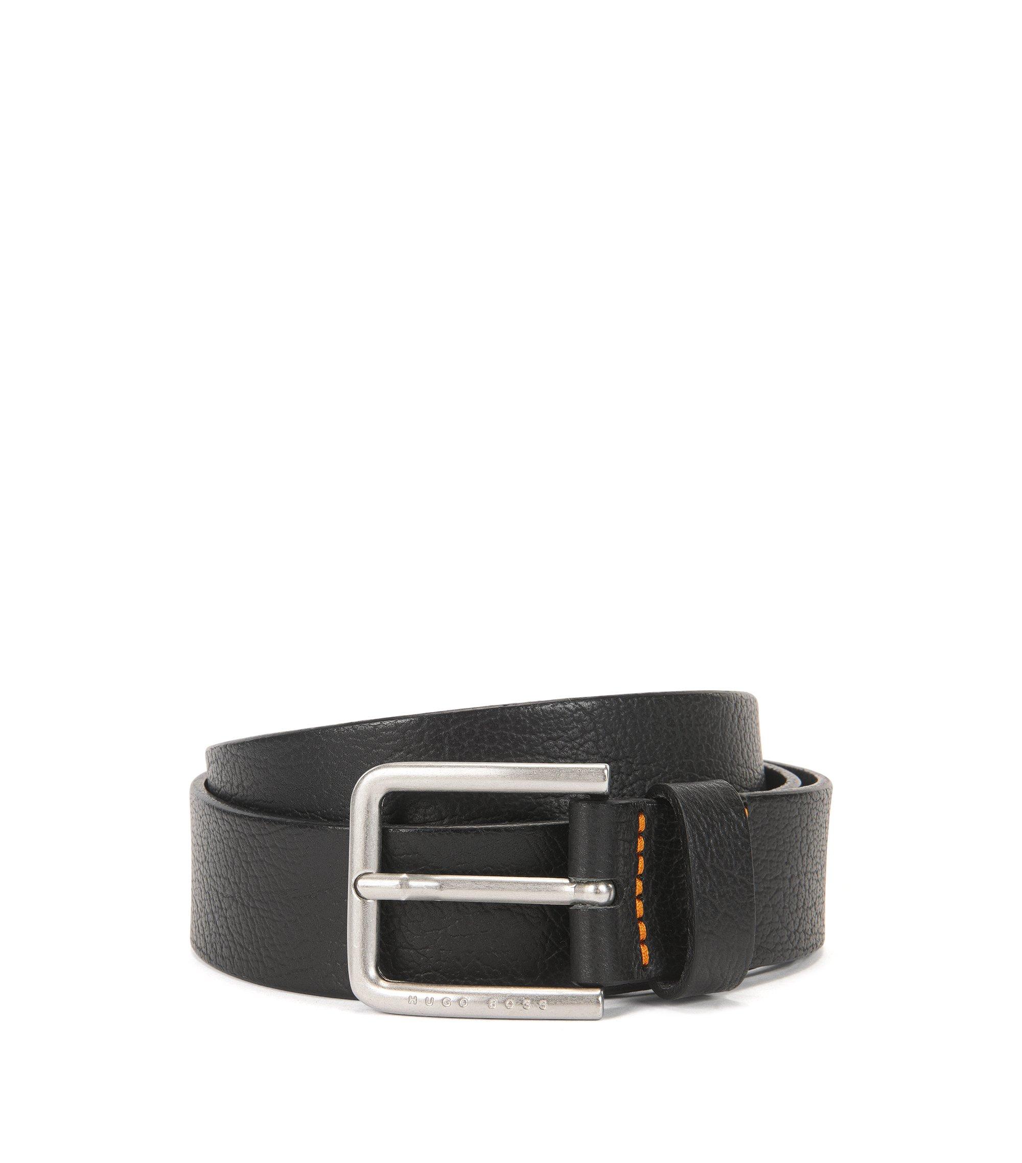 Cinturón de piel en relieve con logo grabado, Negro