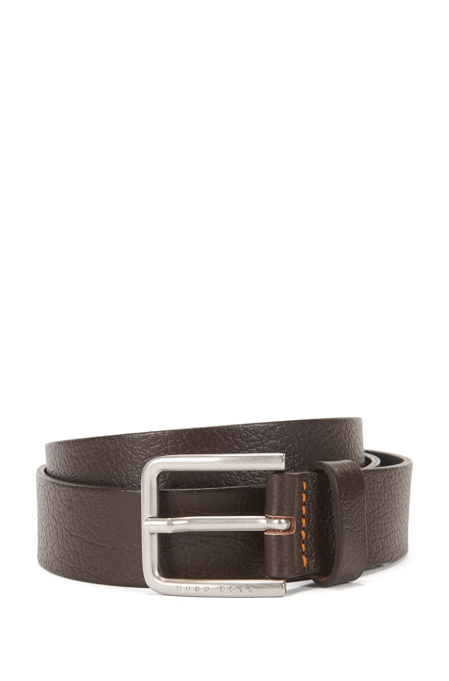 Embossed-leather belt with engraved logo detail