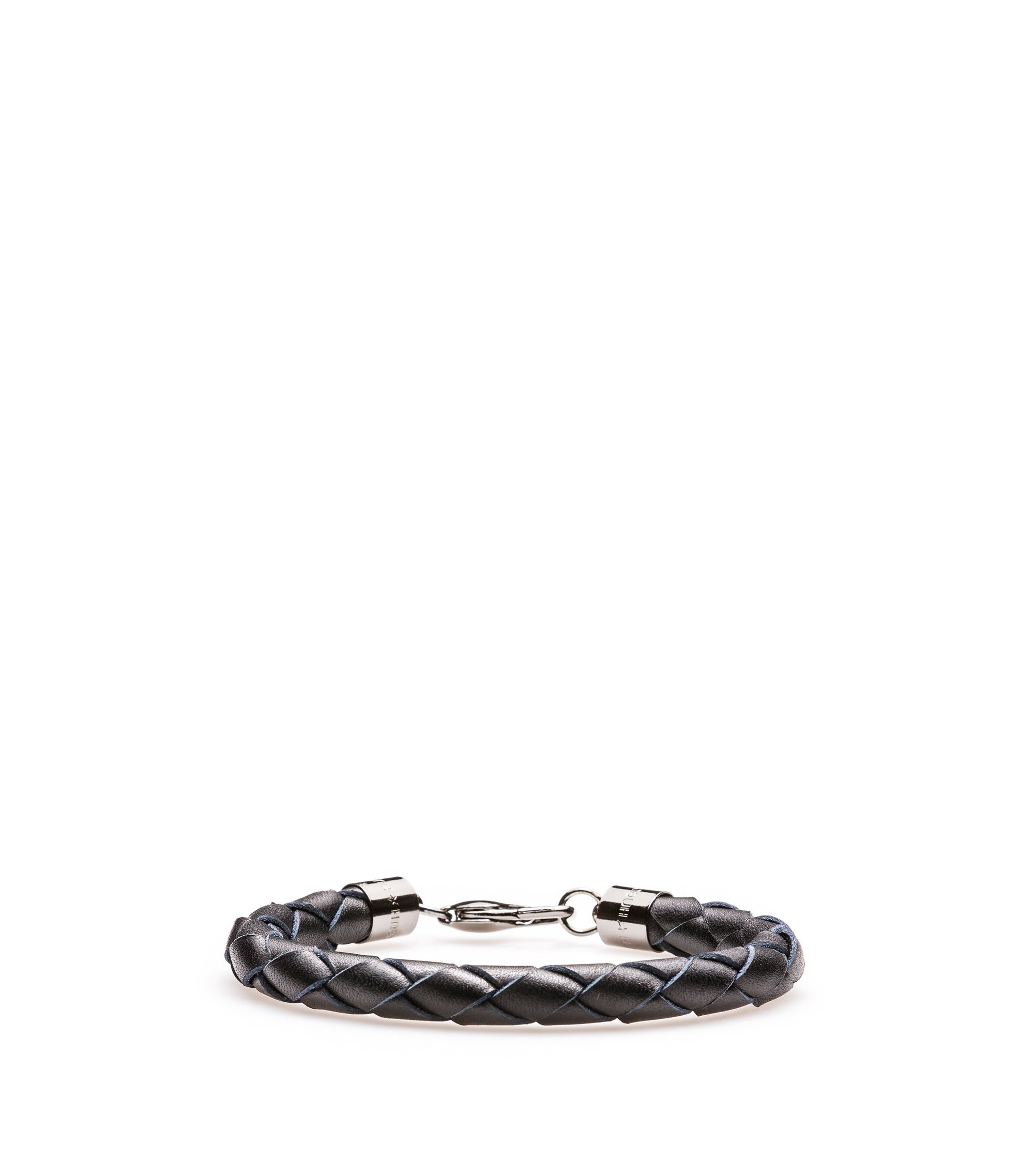Braided bracelet in Italian leather, Black