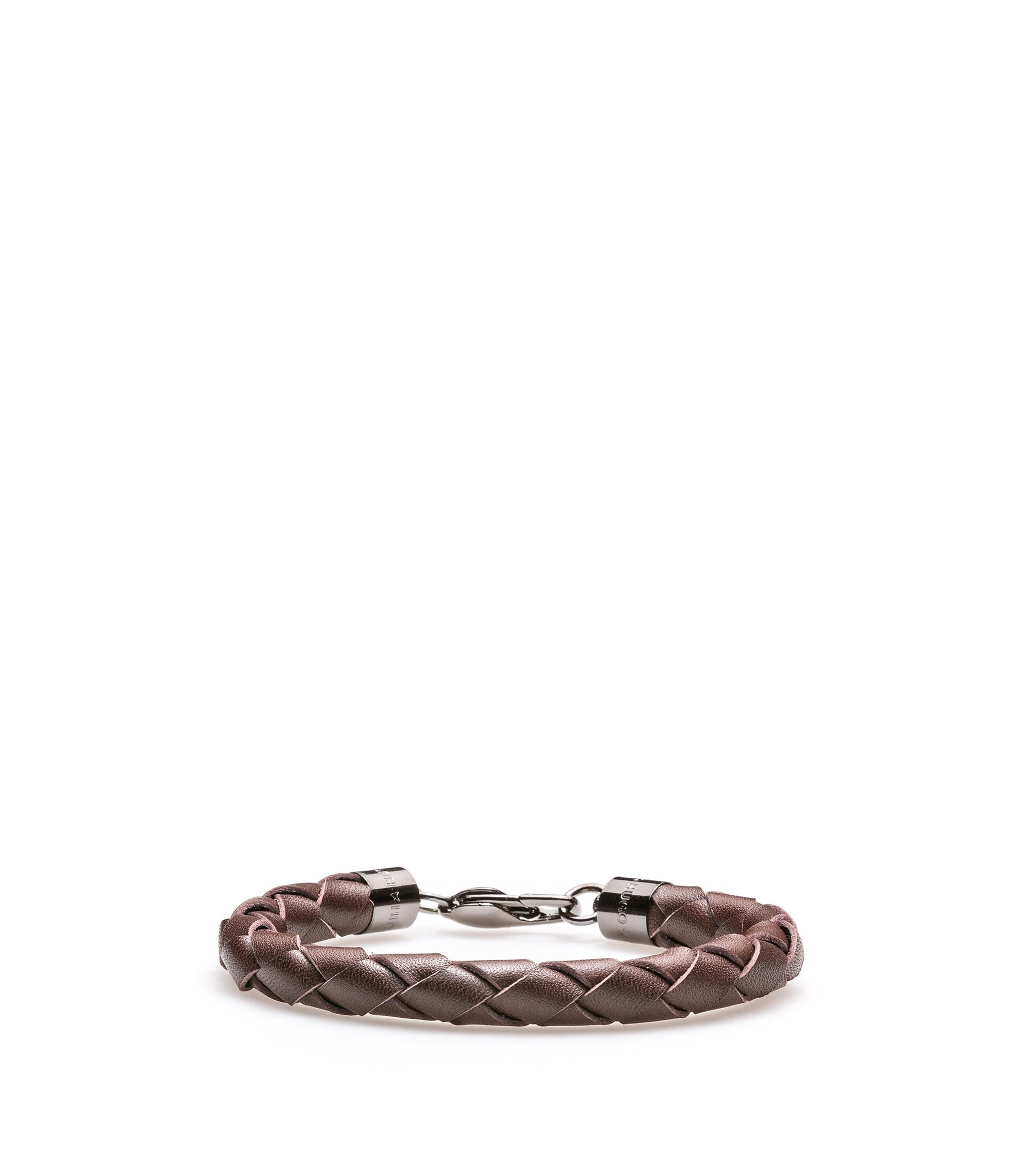 Braided bracelet in Italian leather, Dark Brown