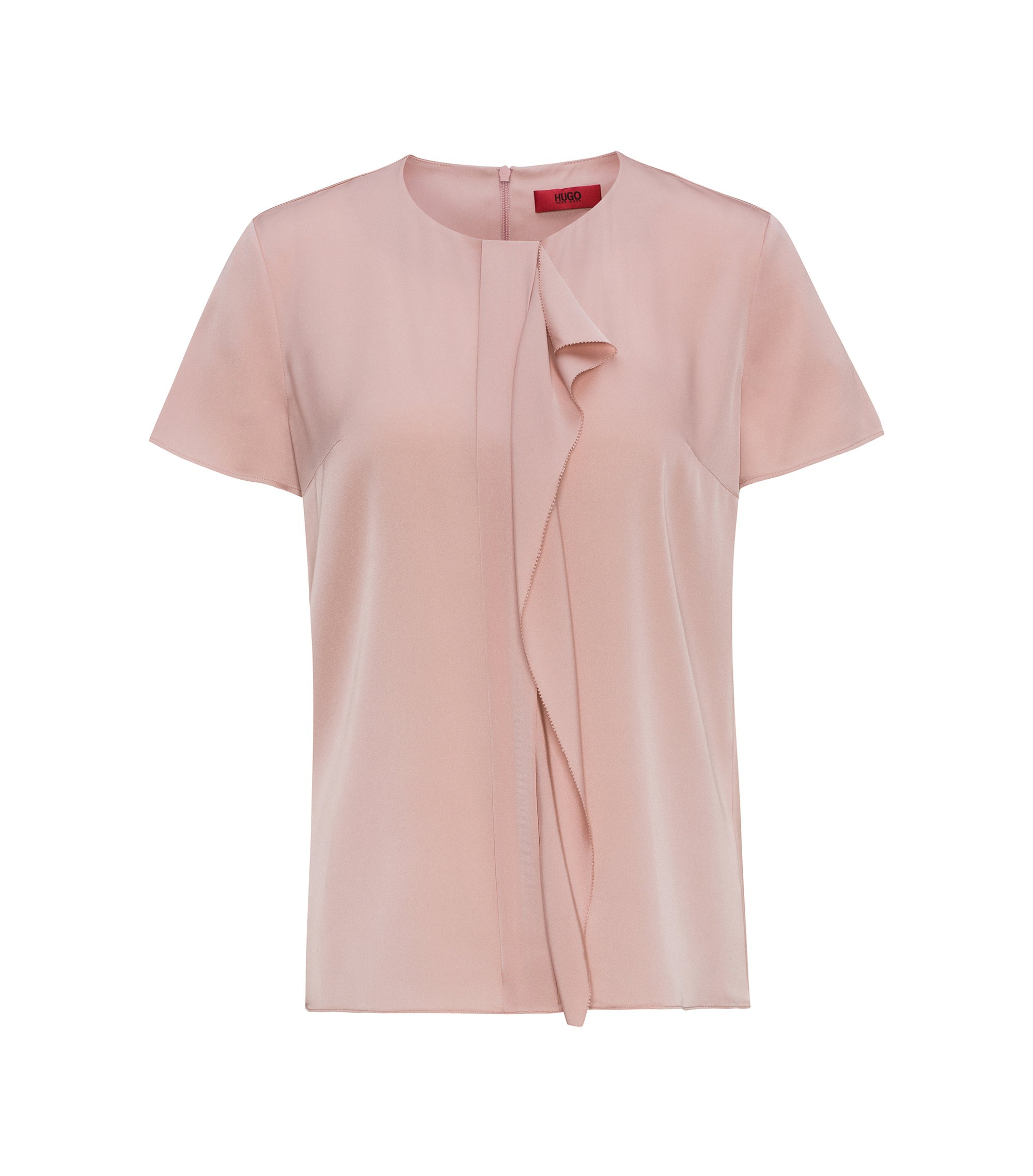 Cap-sleeved top in stretch silk, light pink