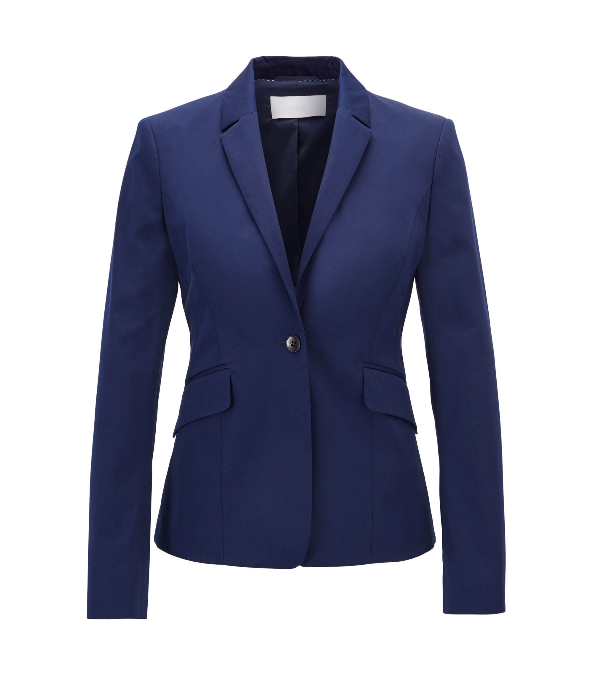 Regular-fit jacket in stretch cotton, Blue