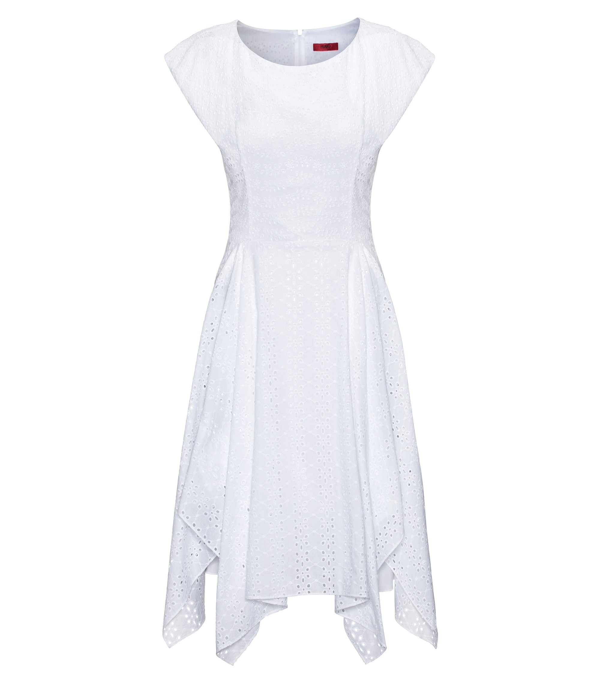 Cotton broderie anglaise dress with handkerchief hem, Blanc