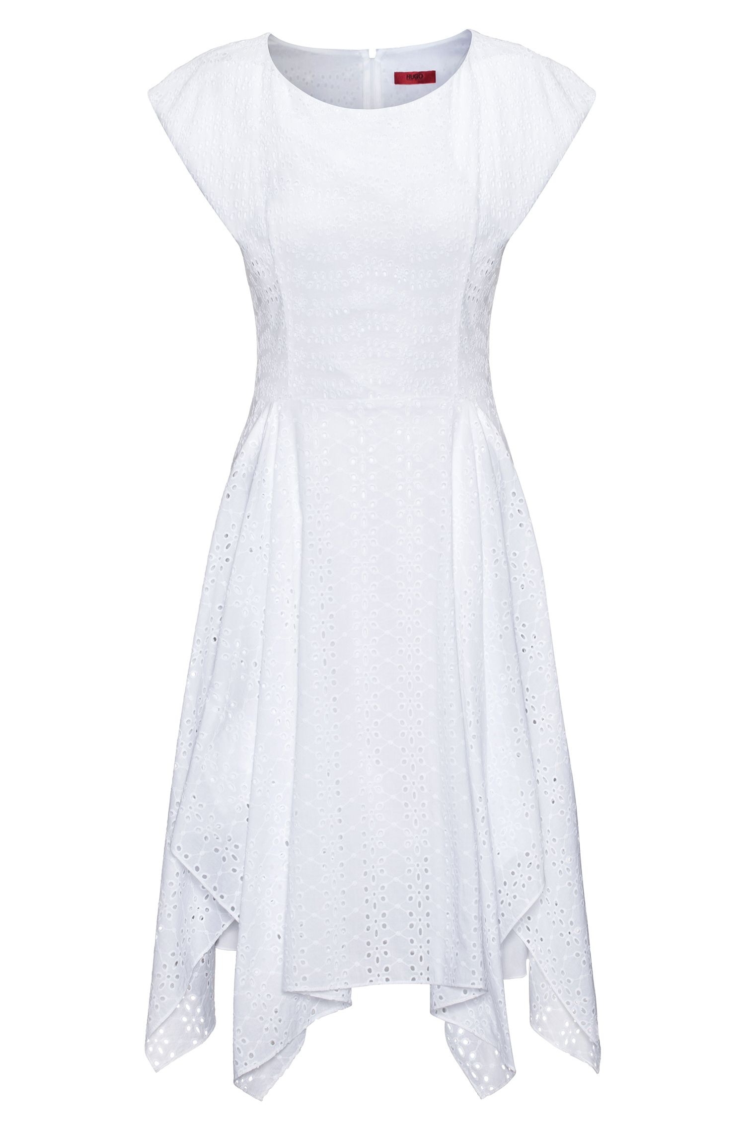 Cotton broderie anglaise dress with handkerchief hem