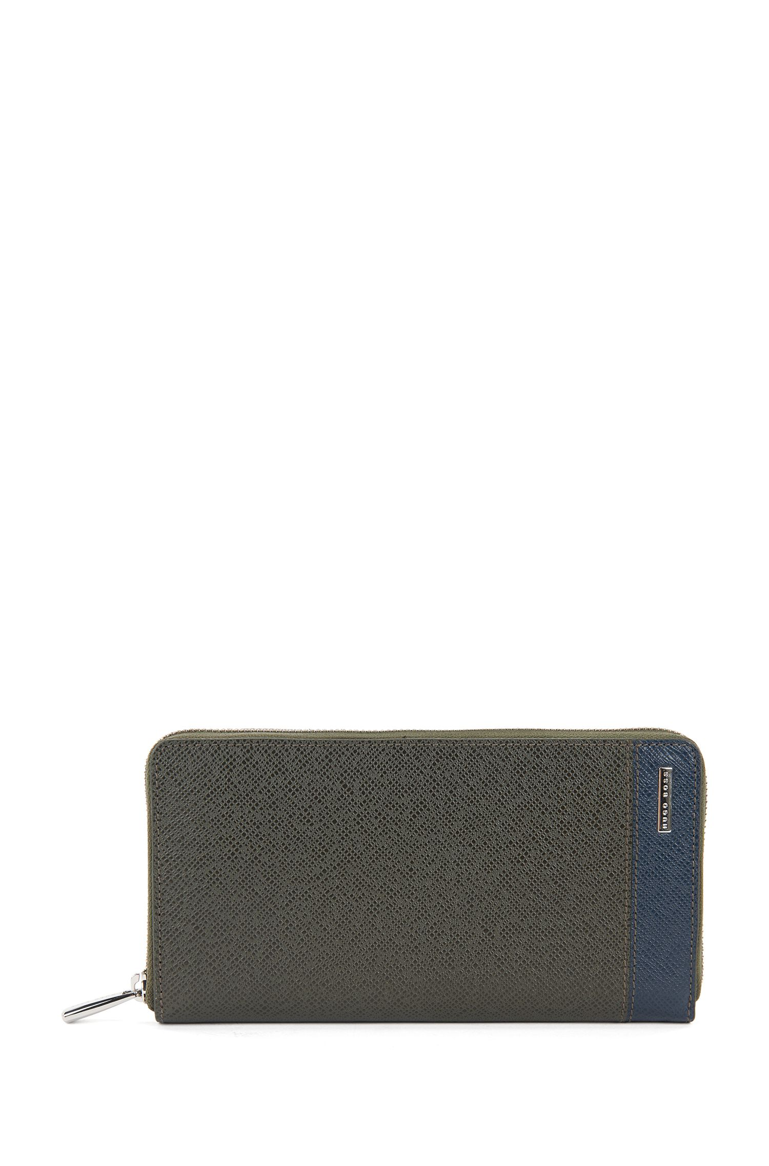 Signature Collection ziparound wallet in colour-block palmellato leather