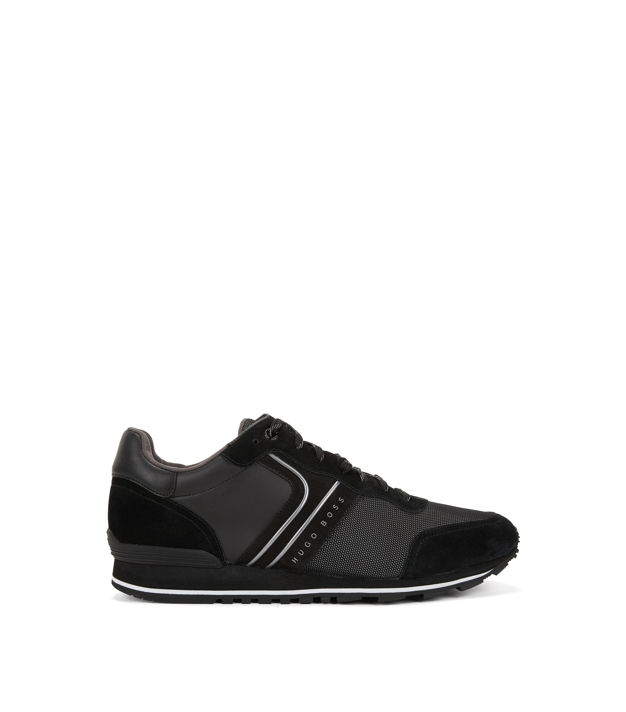 Retro-style running trainers with hybrid uppers, Black
