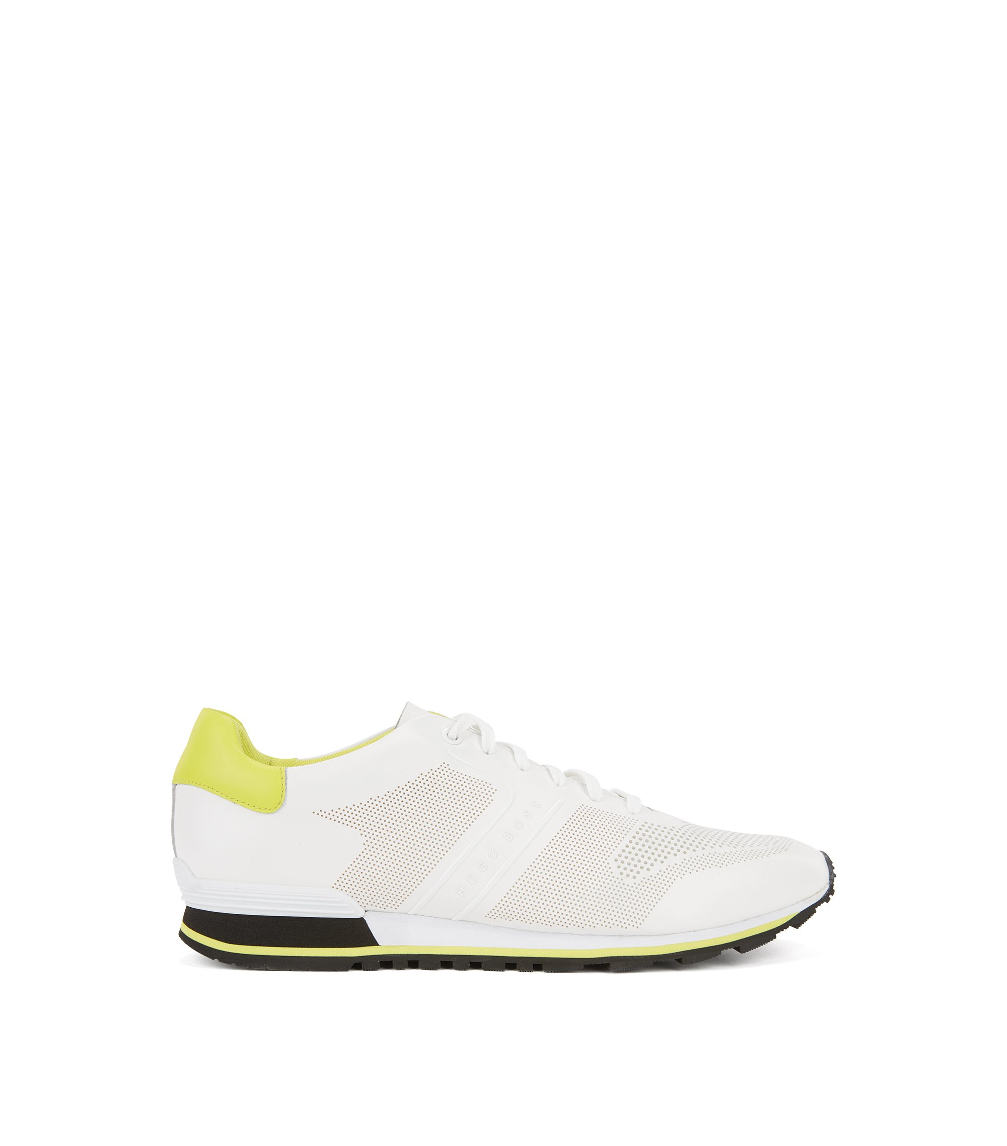 Leather running trainers with laser-cut detailing, White