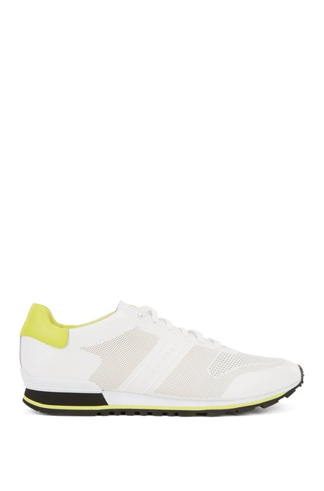Leather running trainers with laser-cut detailing BOSS 8JtGFZ