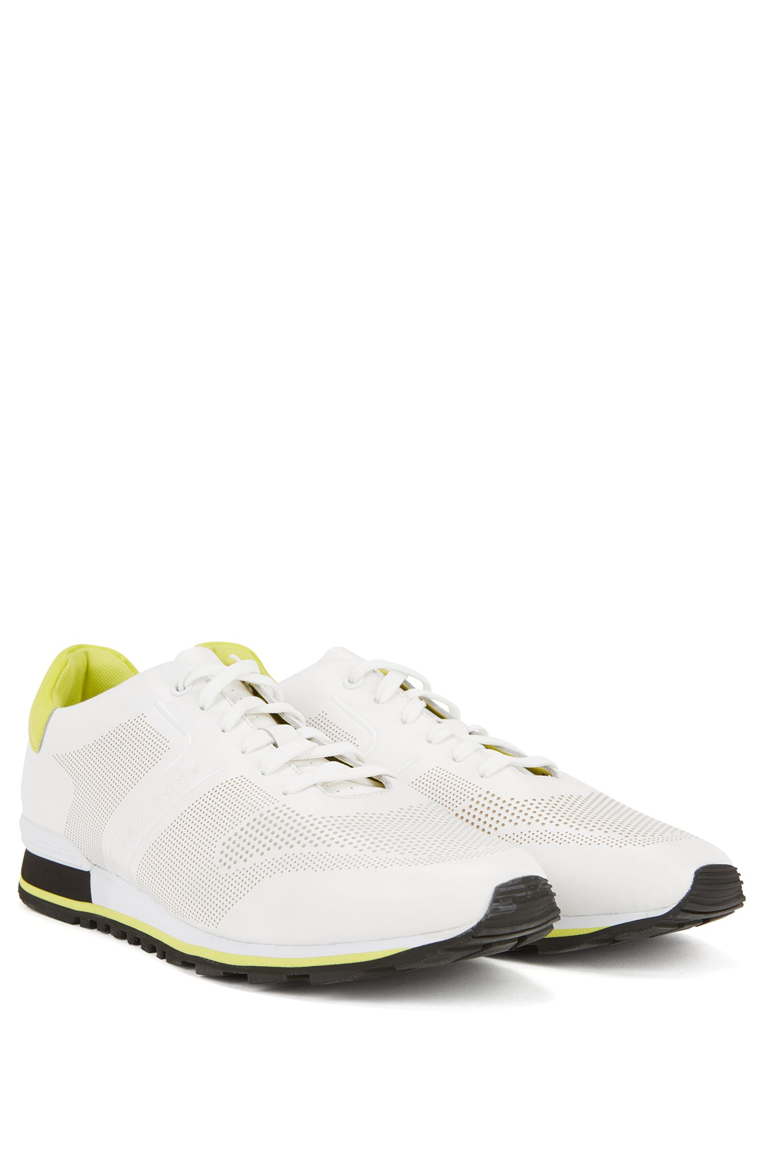 Leather running trainers with laser-cut detailing
