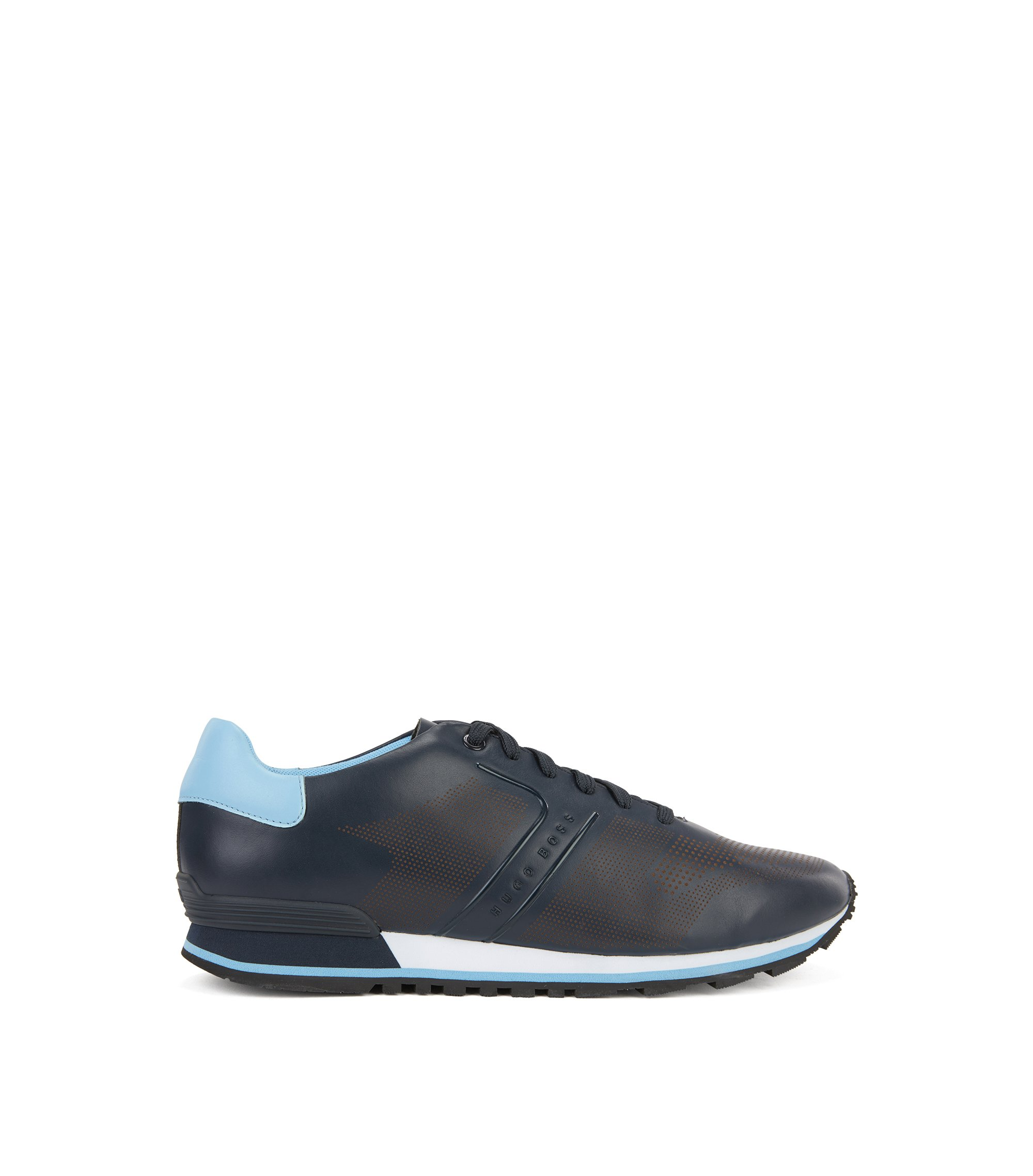 Leather running trainers with laser-cut detailing, Dark Blue