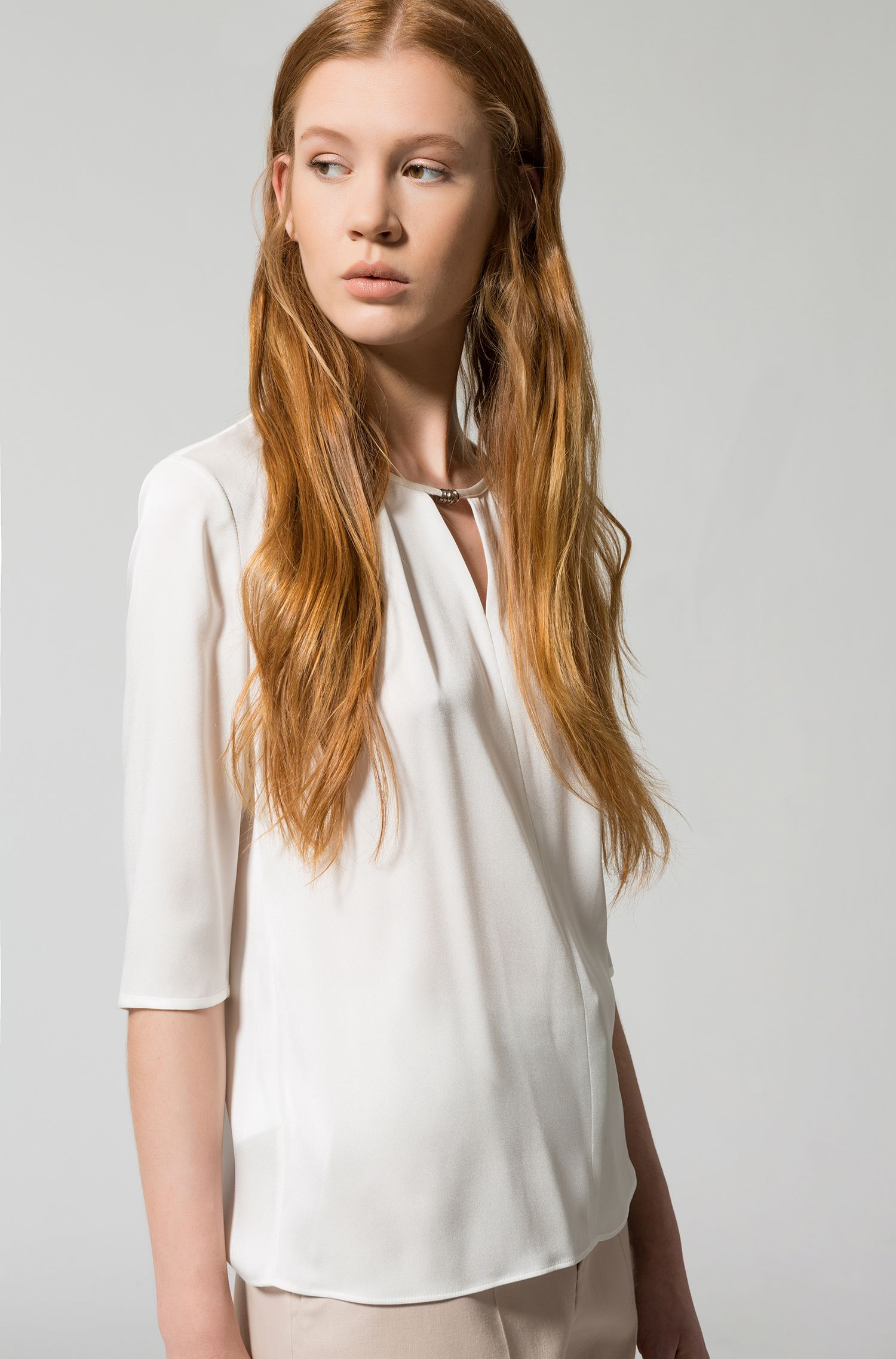 Stretch-silk top with ring embellishment