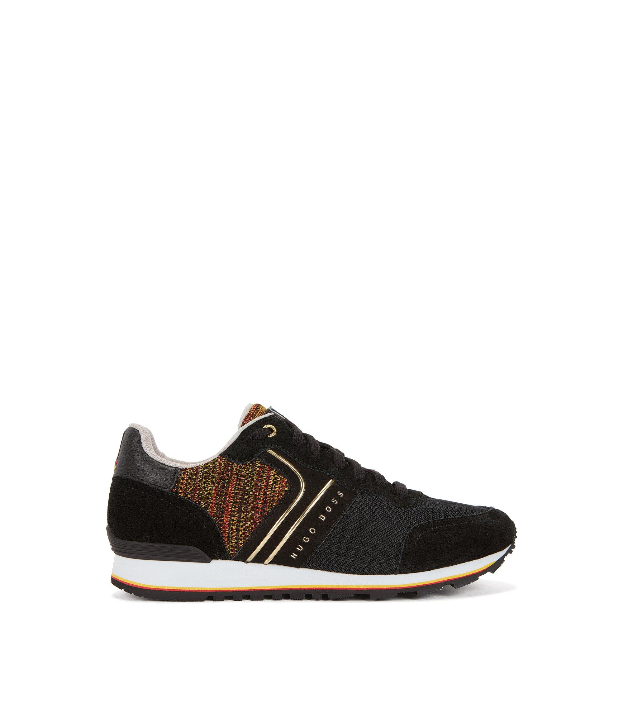 Leichte Sneakers aus Veloursleder, Strick und Mesh in Nationalfarben, Anthrazit