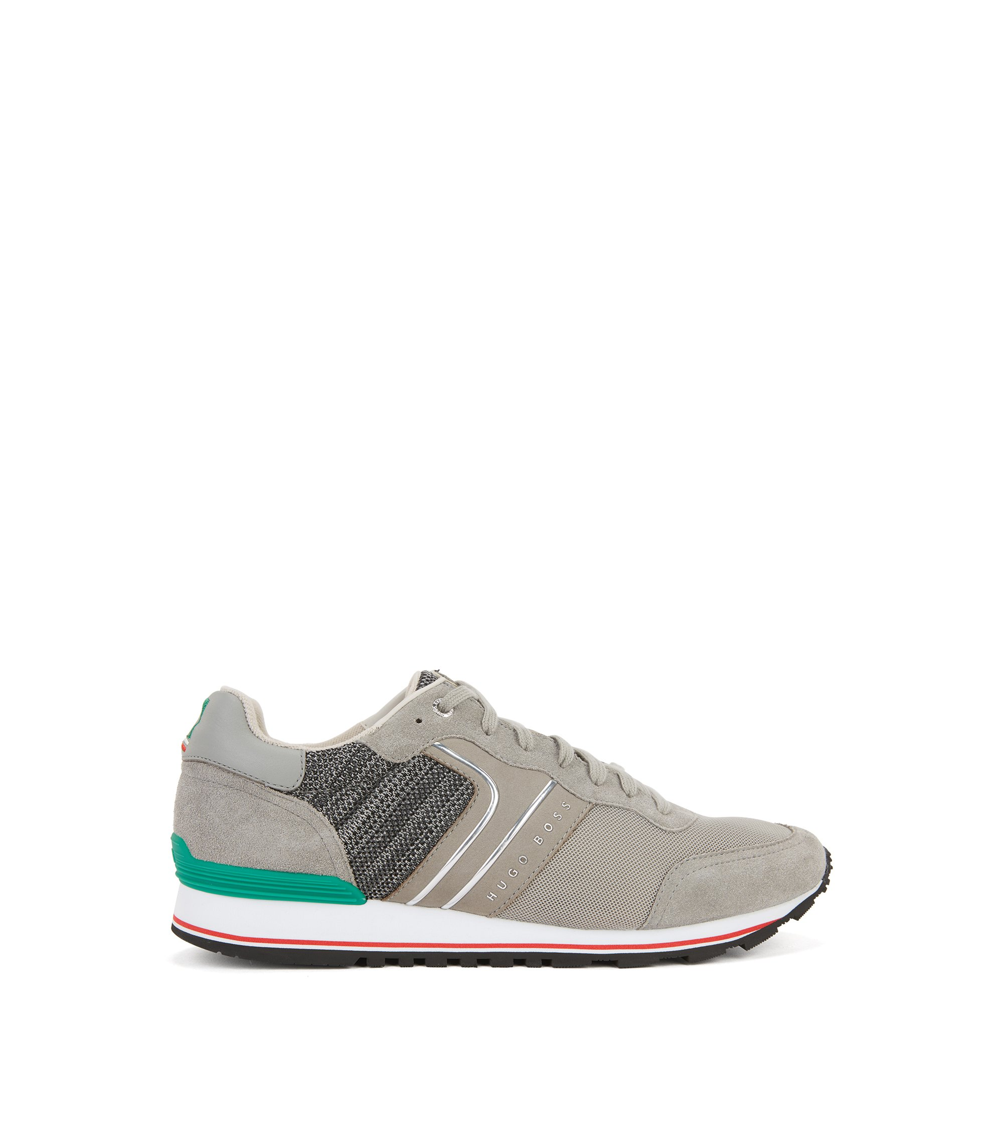 Leichte Sneakers aus Veloursleder, Strick und Mesh in Nationalfarben, Grau